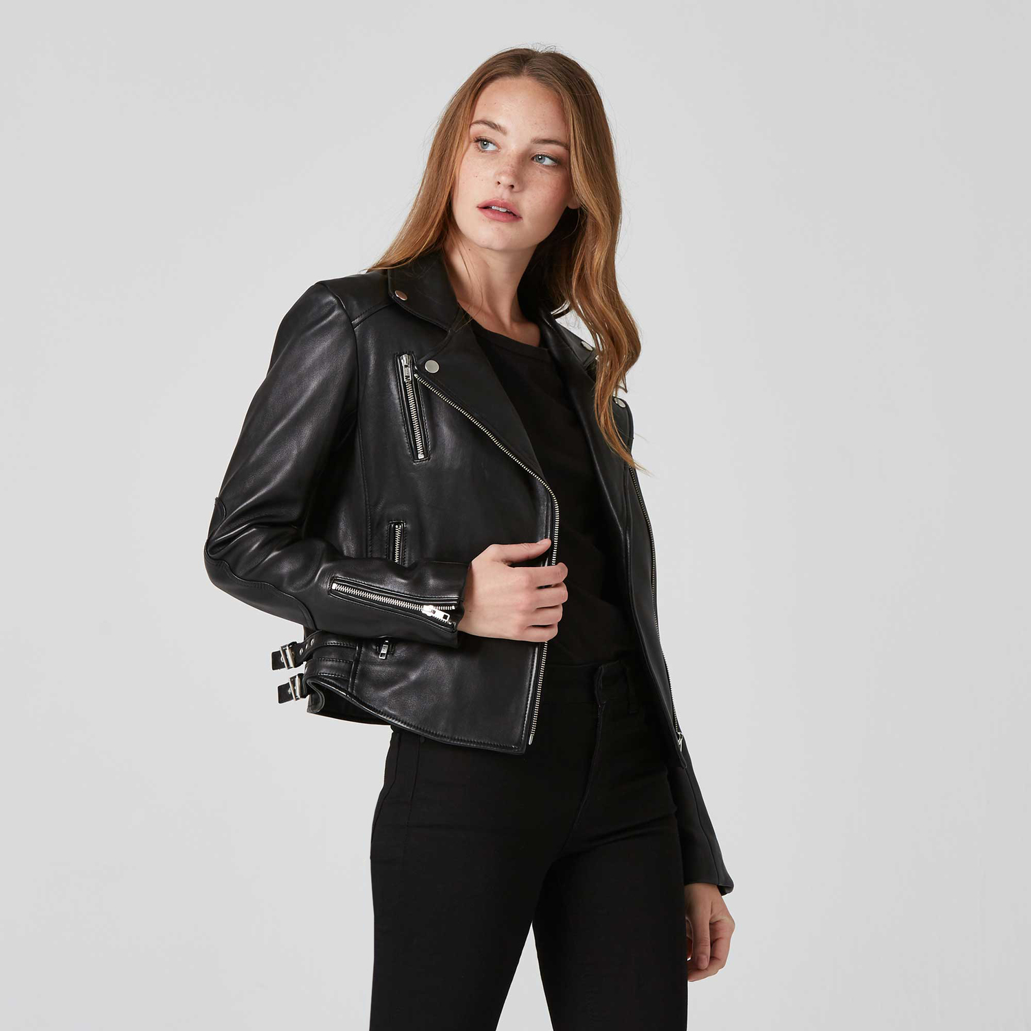 Womens Leather Moto Jacket With Silver Hardware 350  Dstld-4997