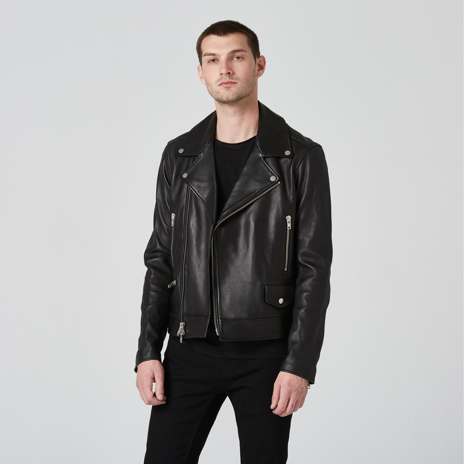 c39759a94 [Collection] Mens Leather Moto Jacket in Black