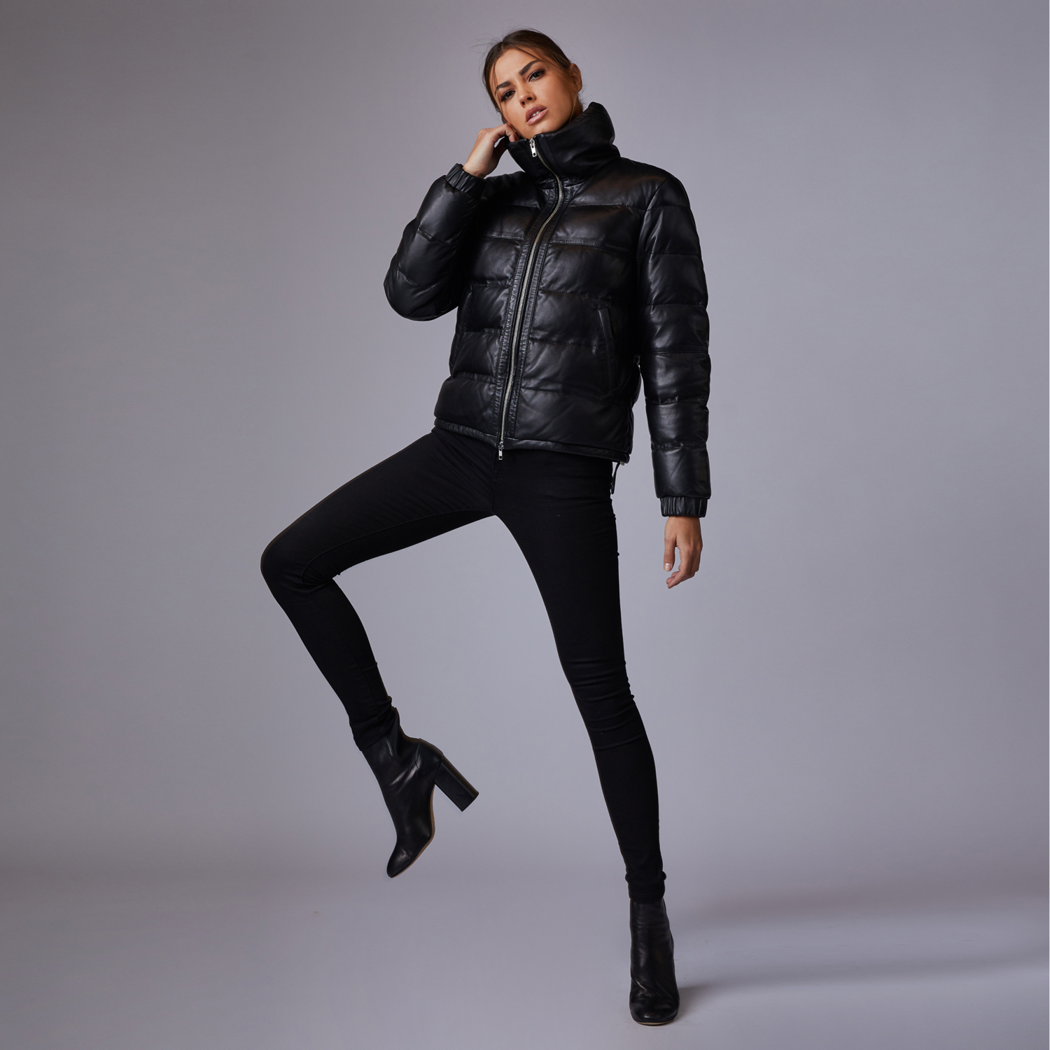 Womens Leather Puffer Jacket In Black $495   DSTLD
