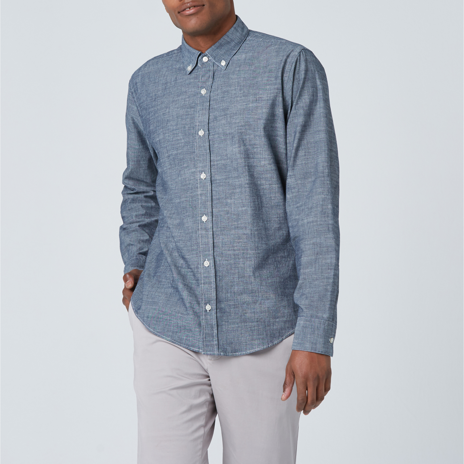 a7a5c3eb Mens Lightweight Chambray Button Down Shirt In Blue $80 | DSTLD