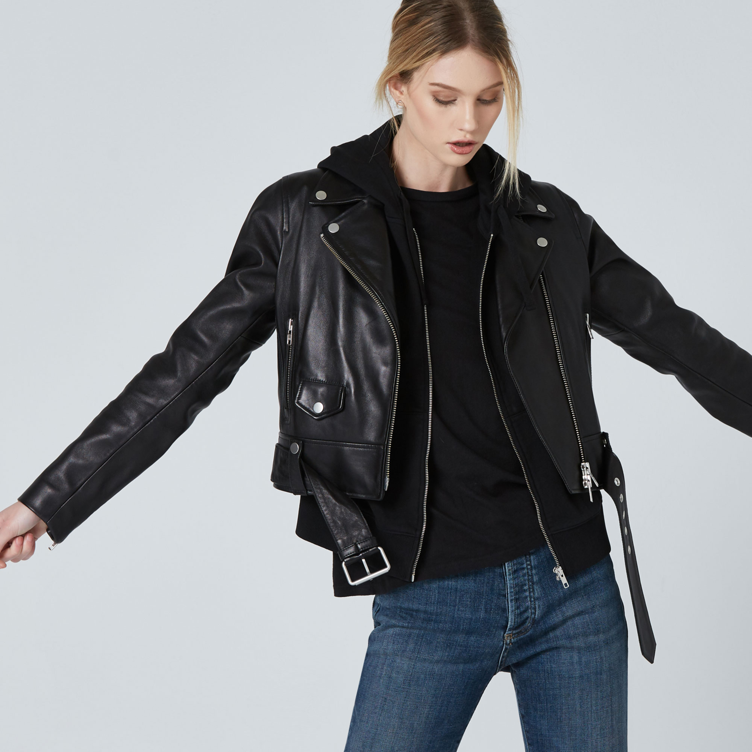 6e6dfd0006e5b Womens Leather Biker Jacket In Black $375 | DSTLD