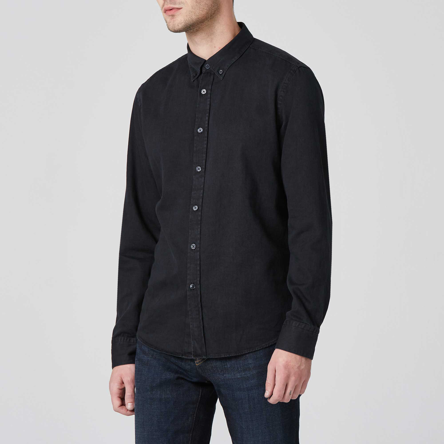 9ef8525fa962 Mens Classic Button Down Shirt In Black  79