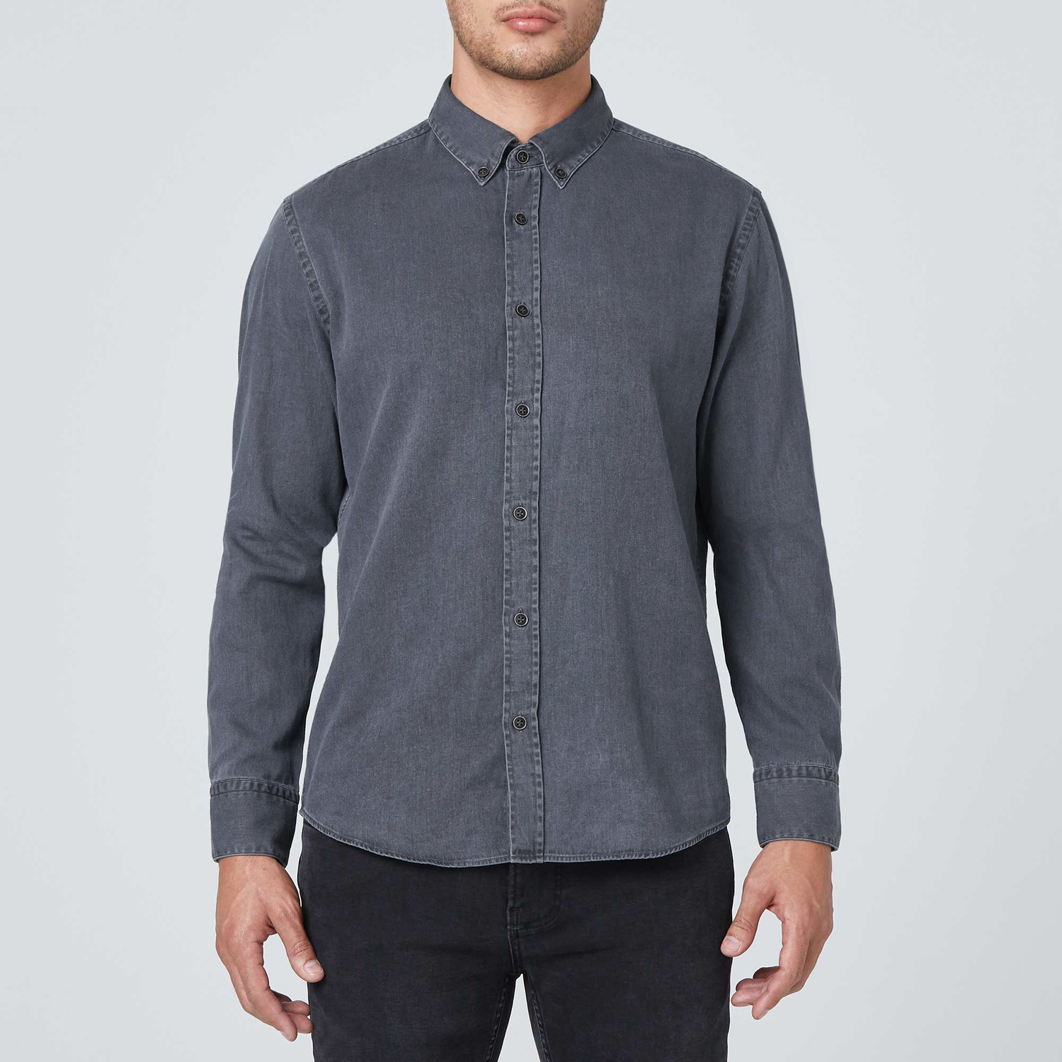 Mens Classic Button Down Shirt In Grey 79 Dstld