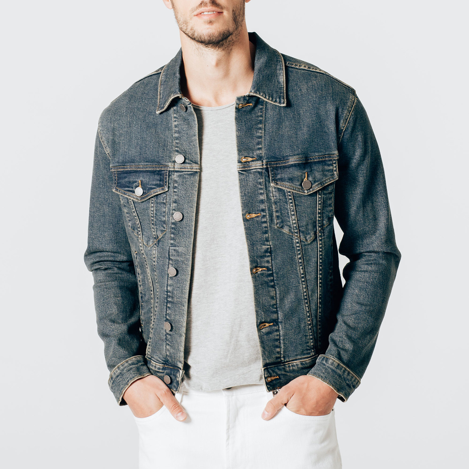 4f16130b1cf4 Mens Denim Jacket In Dark Vintage  95