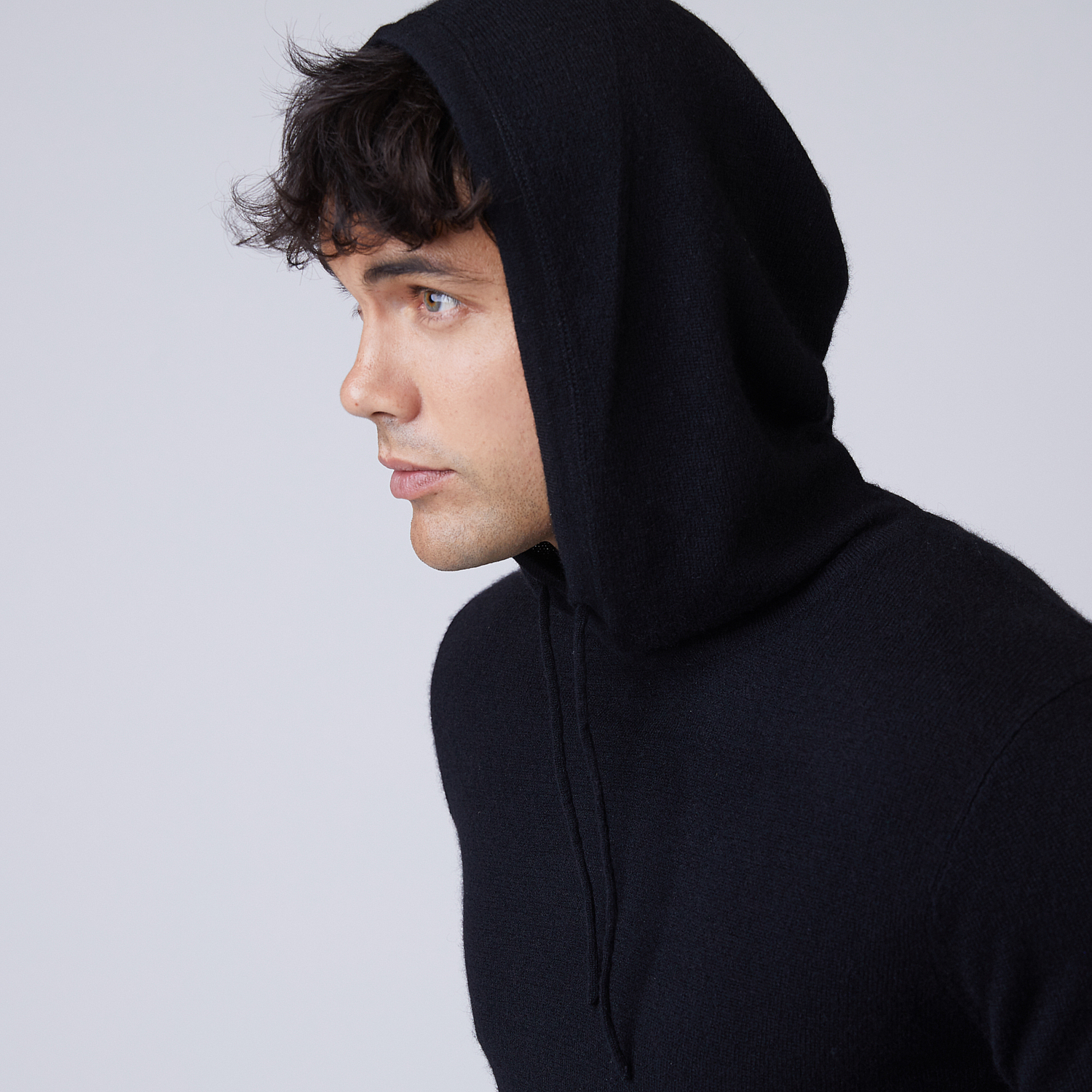 Mens Cashmere Hoodie Sweater In Black