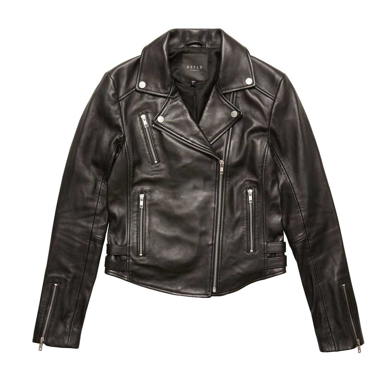 93f3d7bc76 Womens Leather Moto Jacket With Silver Hardware $350 | DSTLD