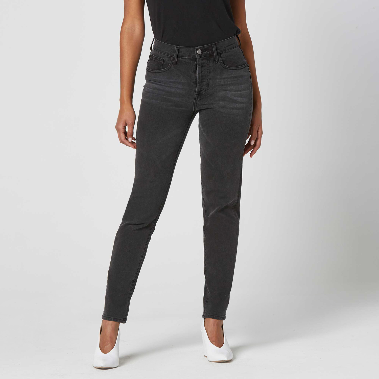 1131d850cb69 Womens High Rise Mom Jeans In Faded Black  95