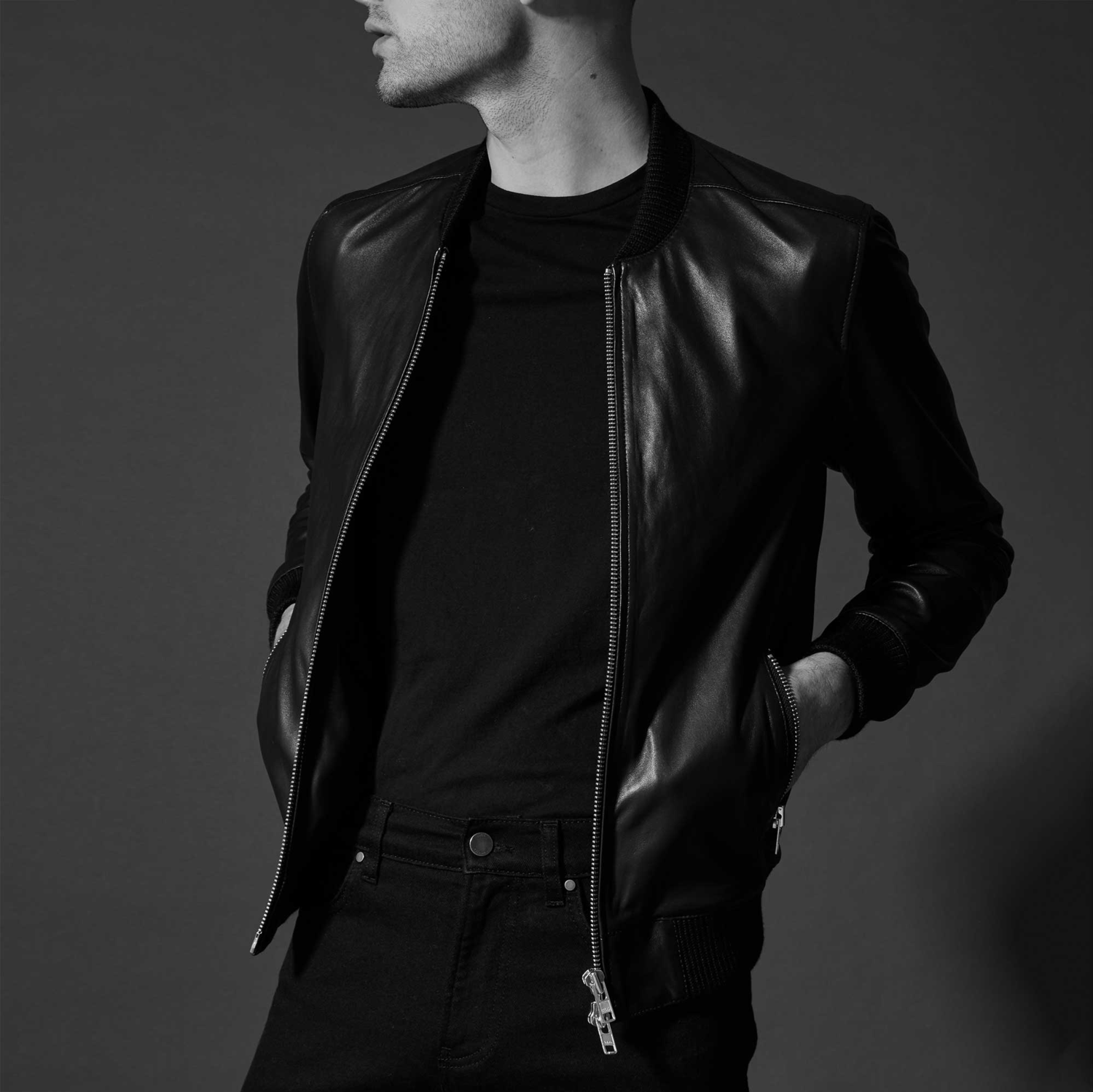 schermo trasfusione conversione  Mens Leather Bomber Jacket In Black $350 | DSTLD