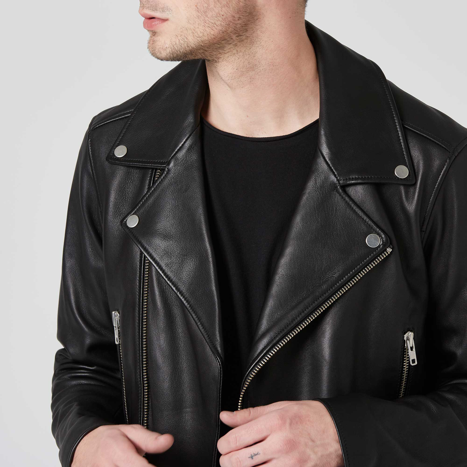 fea99f9e4e Mens Leather Moto Jacket In Black $400 | DSTLD