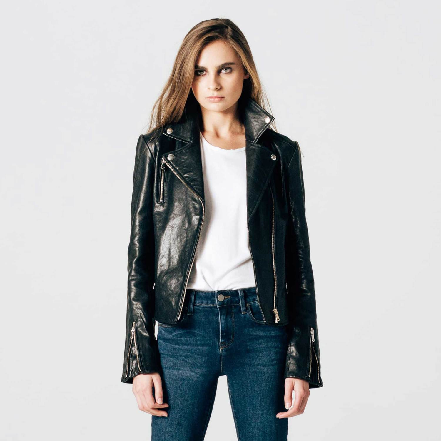 Womens Leather Moto Jacket With Silver Hardware  300  334b65b0bc
