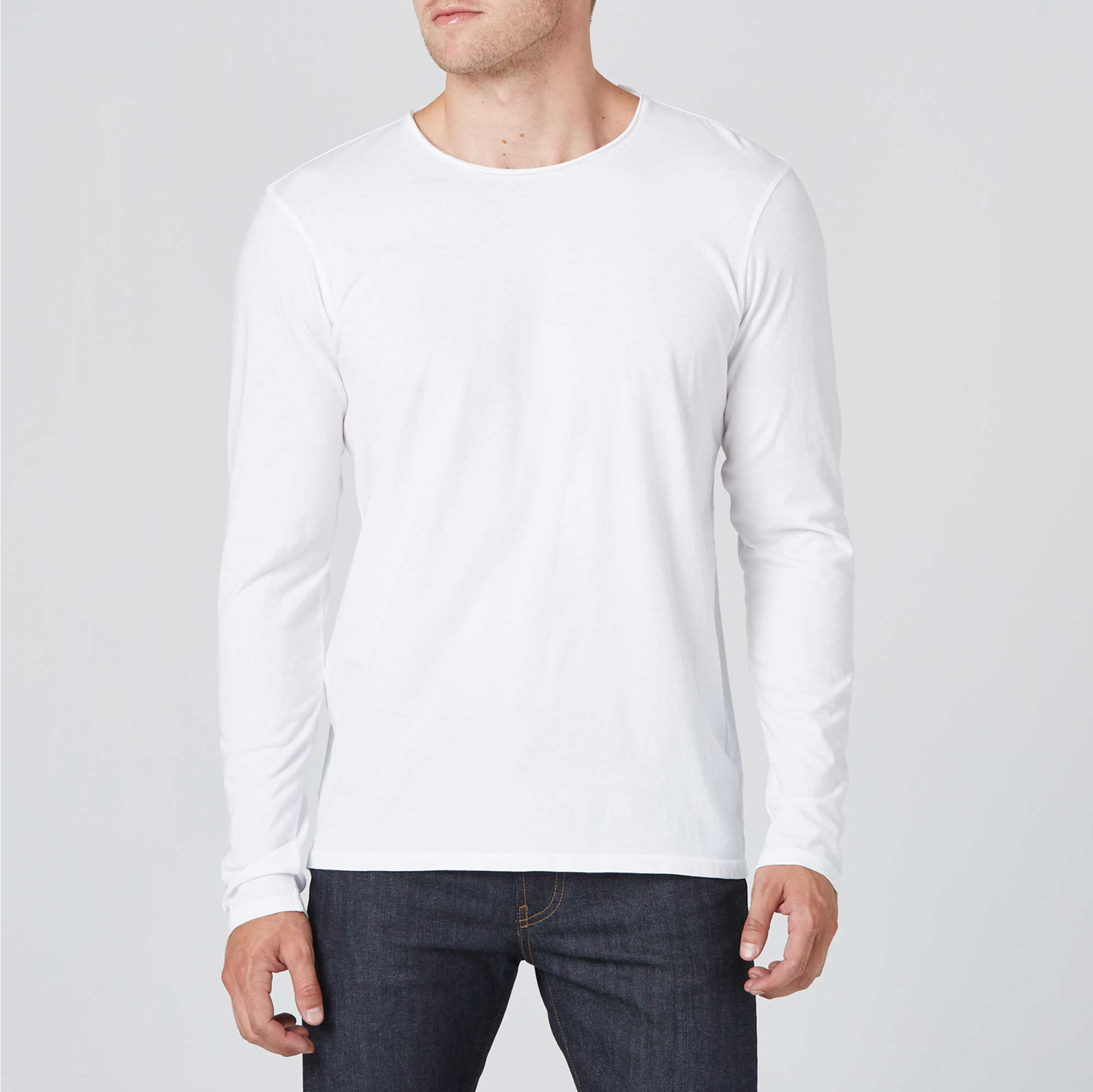 0583cc41 Long Sleeve Modern Crew Neck Tee In White