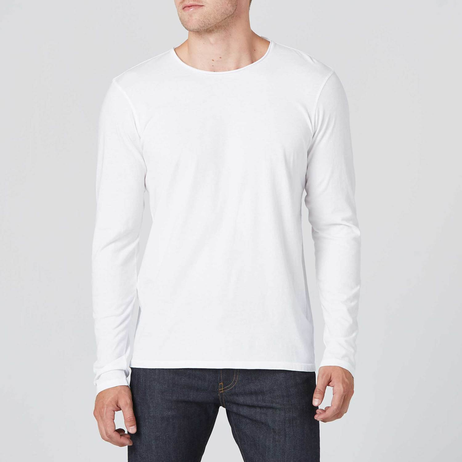Mens Long Sleeve Modern Crew Neck Tee In White  30  2fe1879abe2