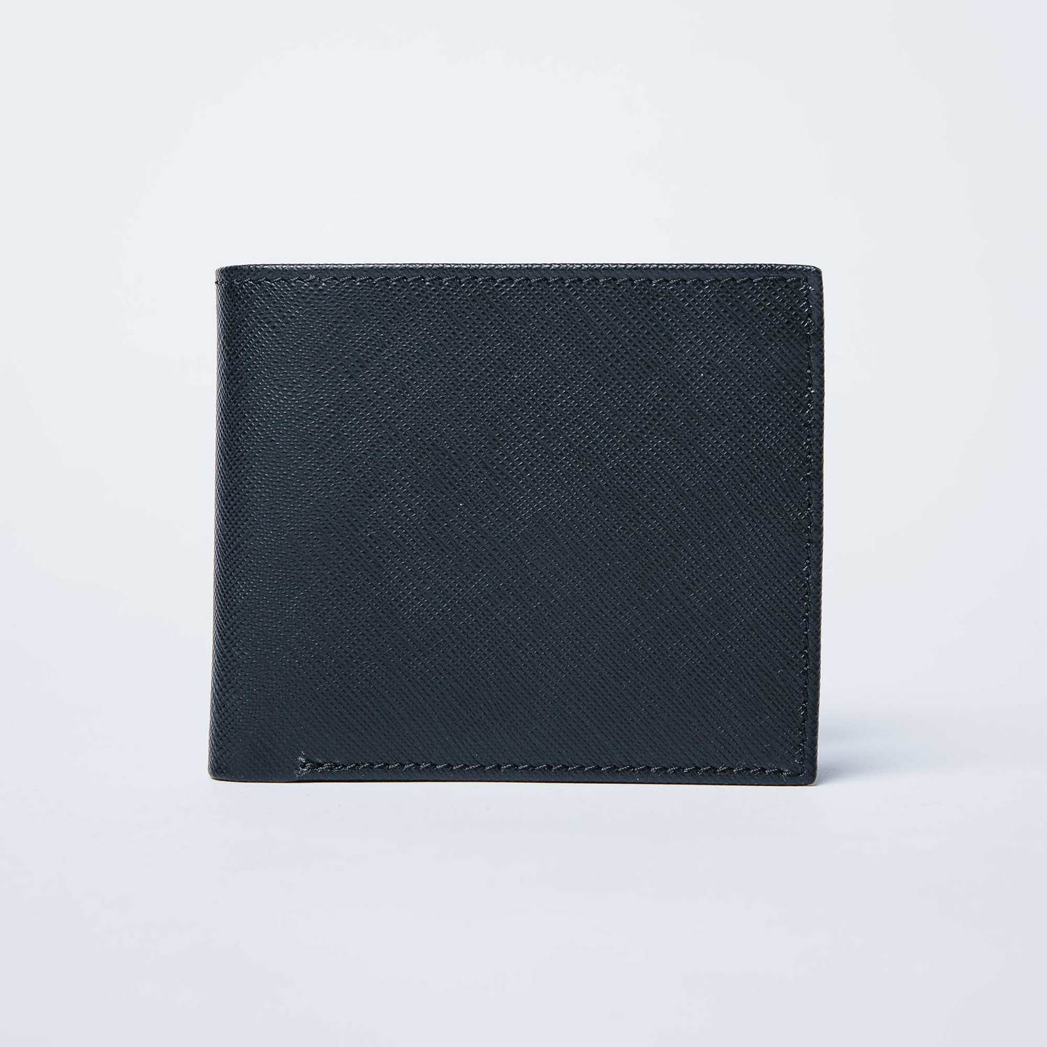 Mens Saffiano Leather Bifold Wallet In Black by Dstld