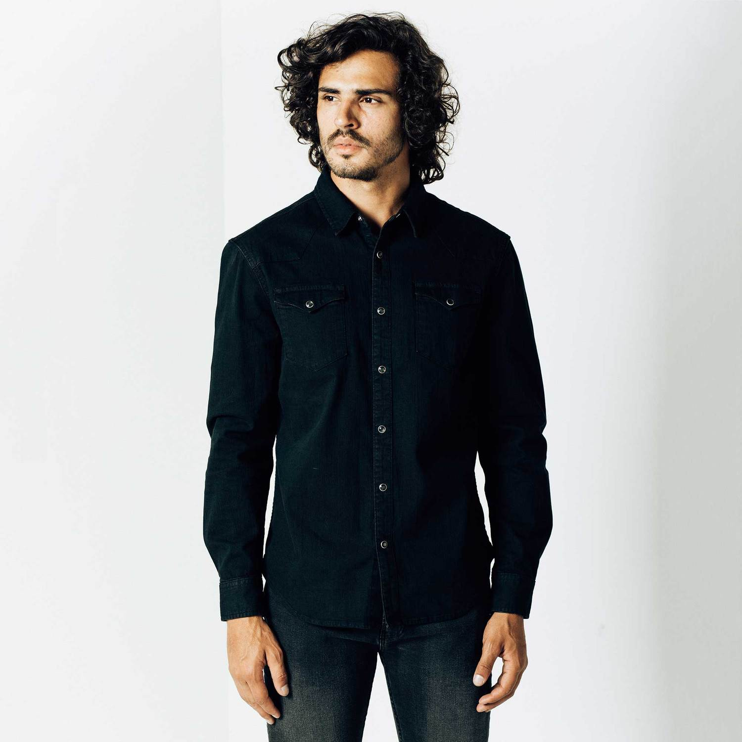 Mens Snap Button Down Denim Shirt In Black Overdye $75 | DSTLD