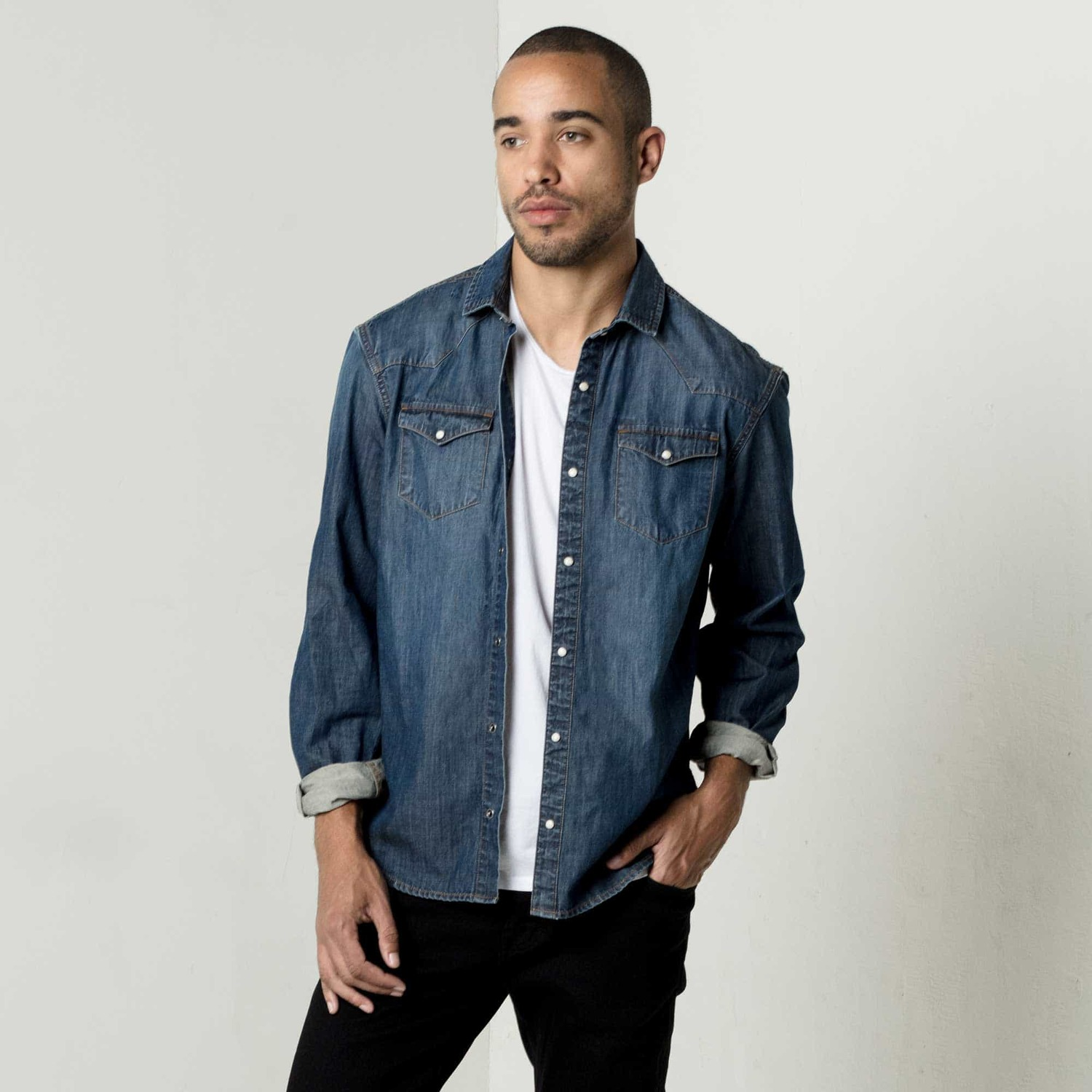 Mens Snap Button Down Denim Shirt In Dark Vintage $75 | DSTLD