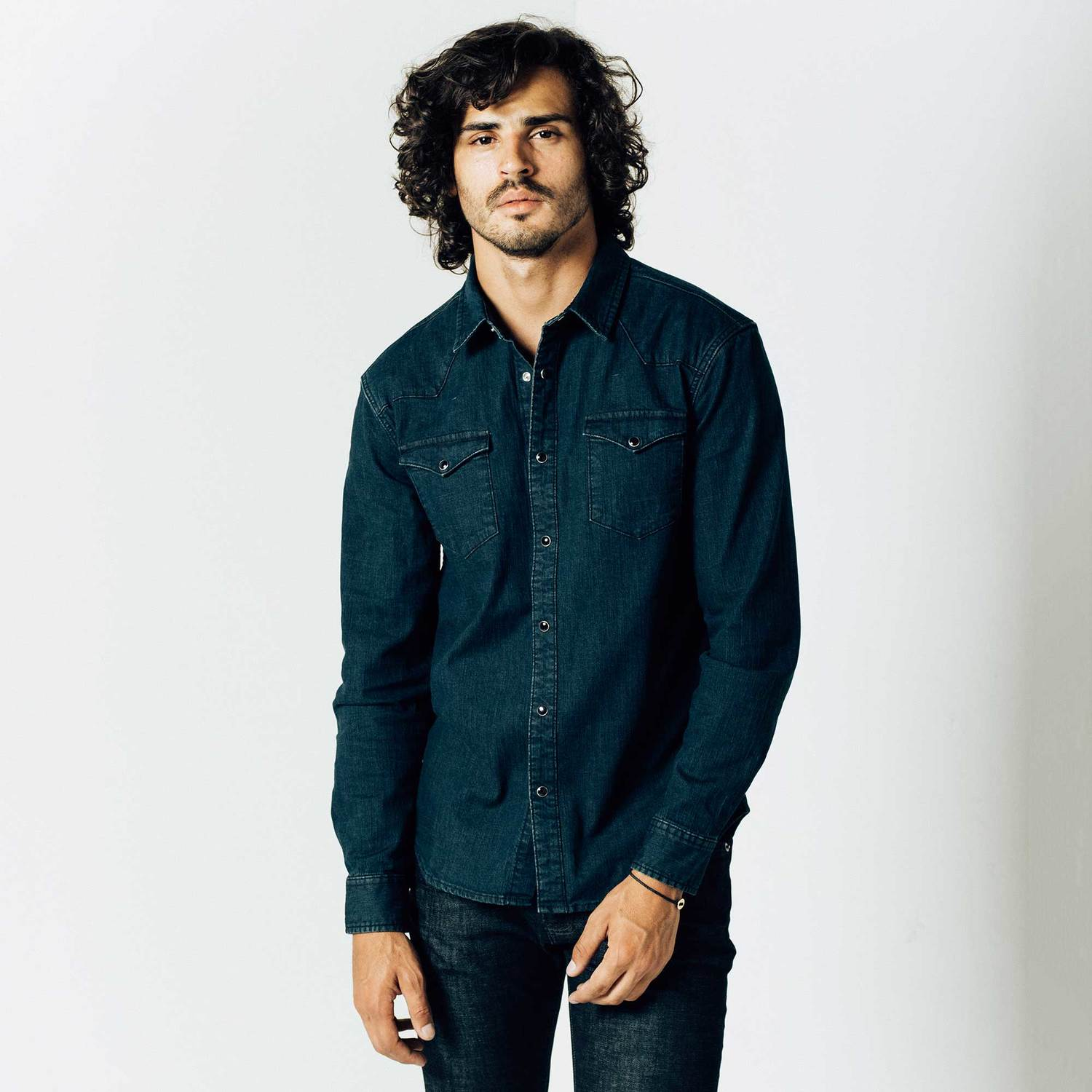 Mens Snap Button Down Denim Shirt In Midnight Blue $75 | DSTLD