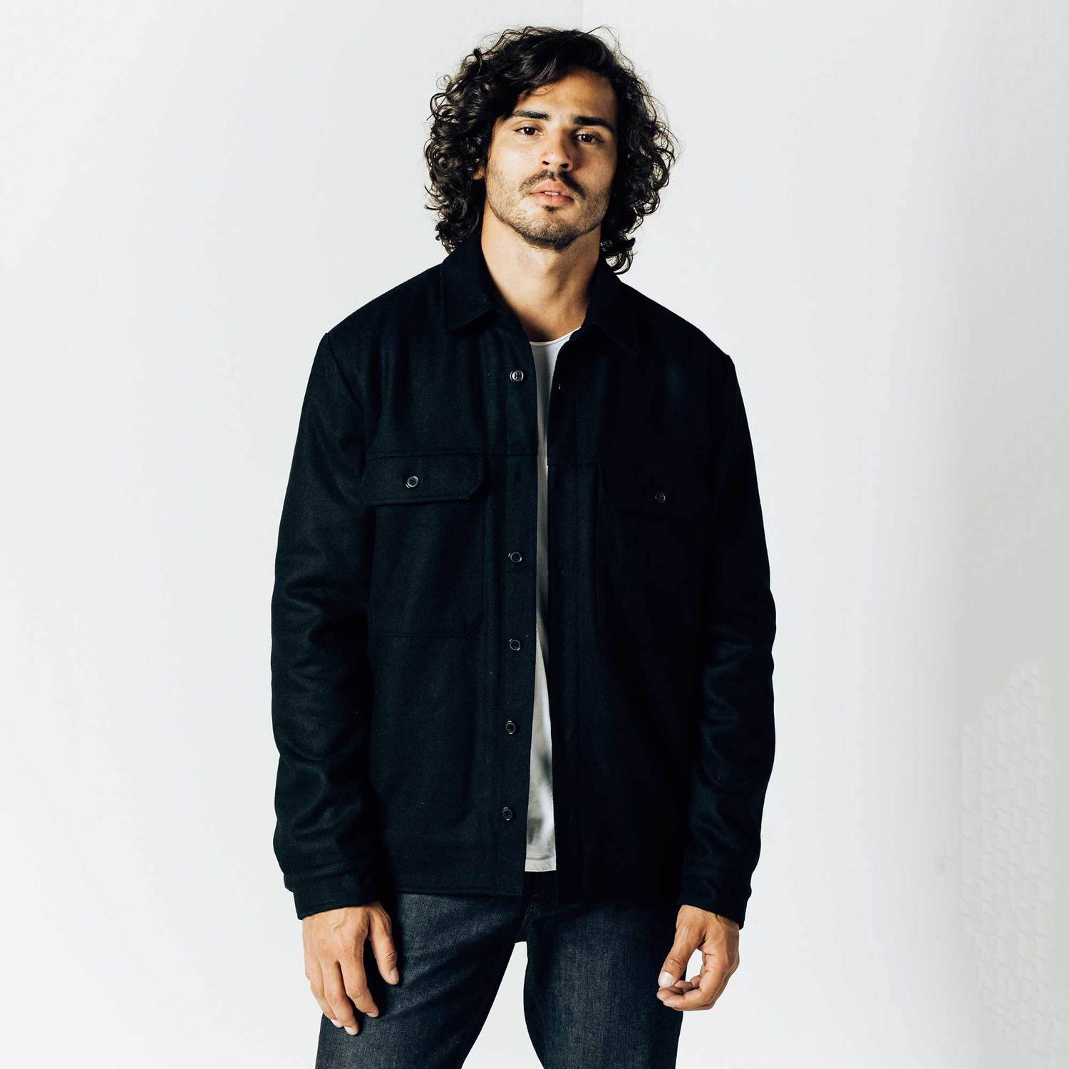 Mens Sherpa Lined Shirt Jacket In Black $130 | DSTLD