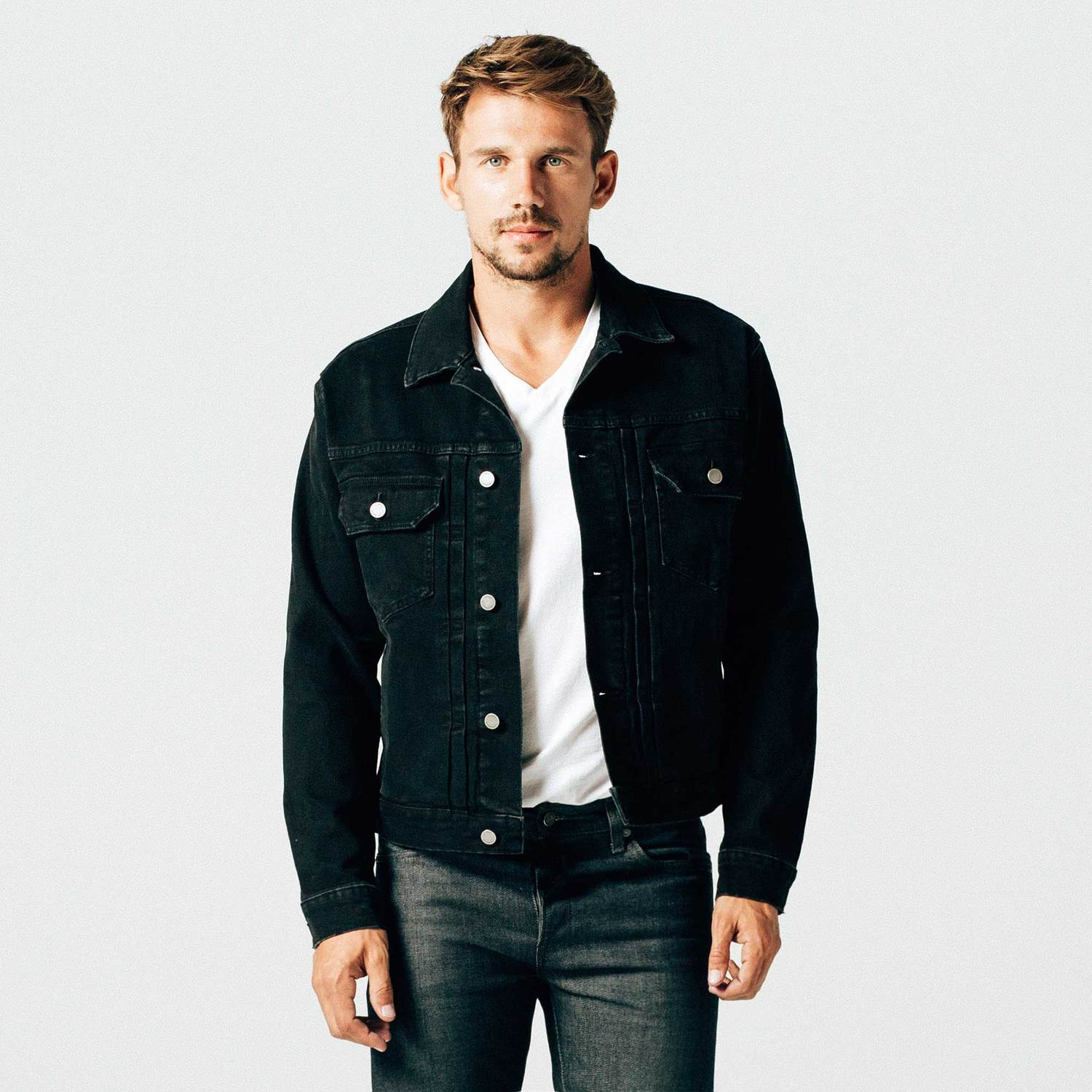 Mens Denim Jacket In Worn Black $95 | DSTLD