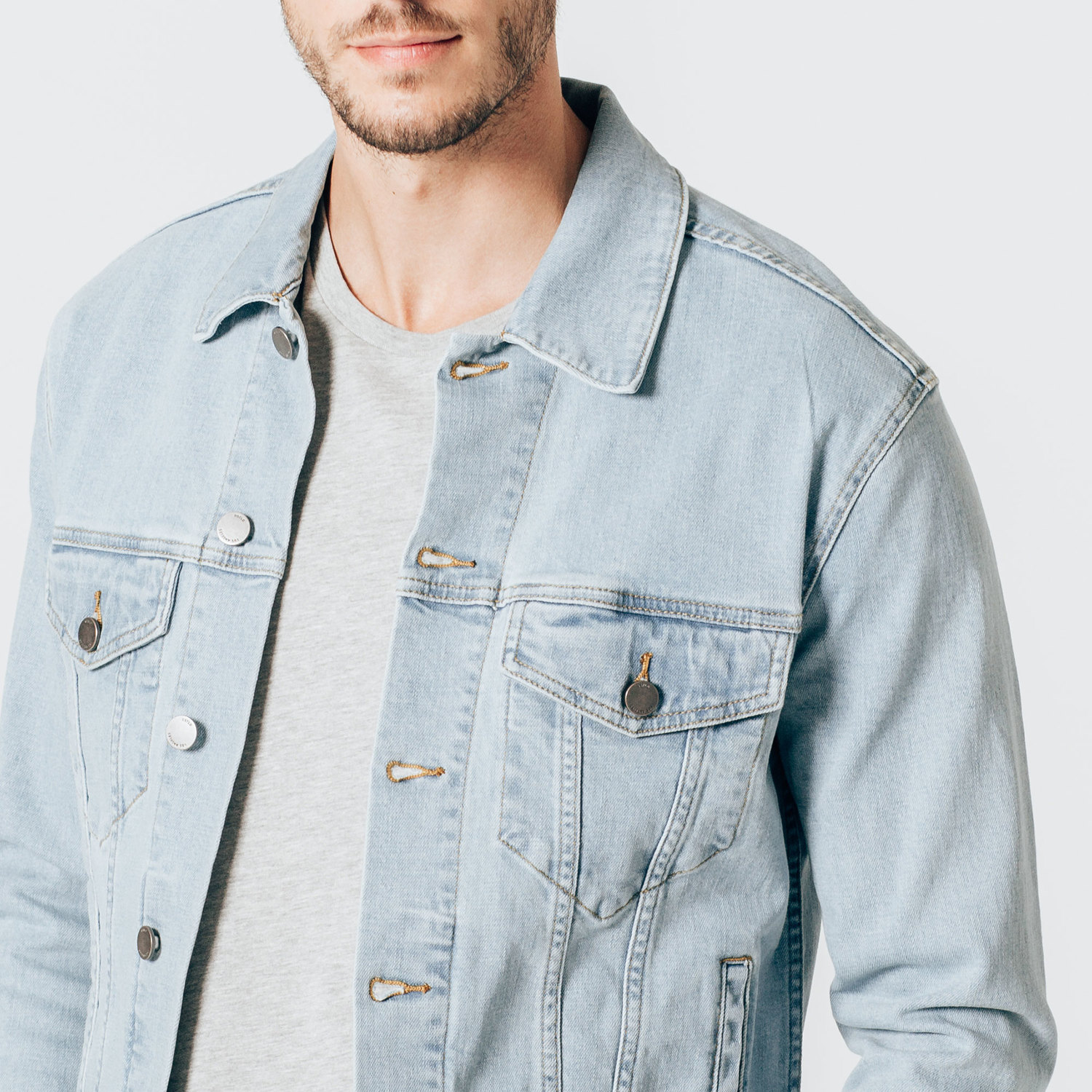 d8b3e3bf386 Mens Denim Jacket In Light Wash  95