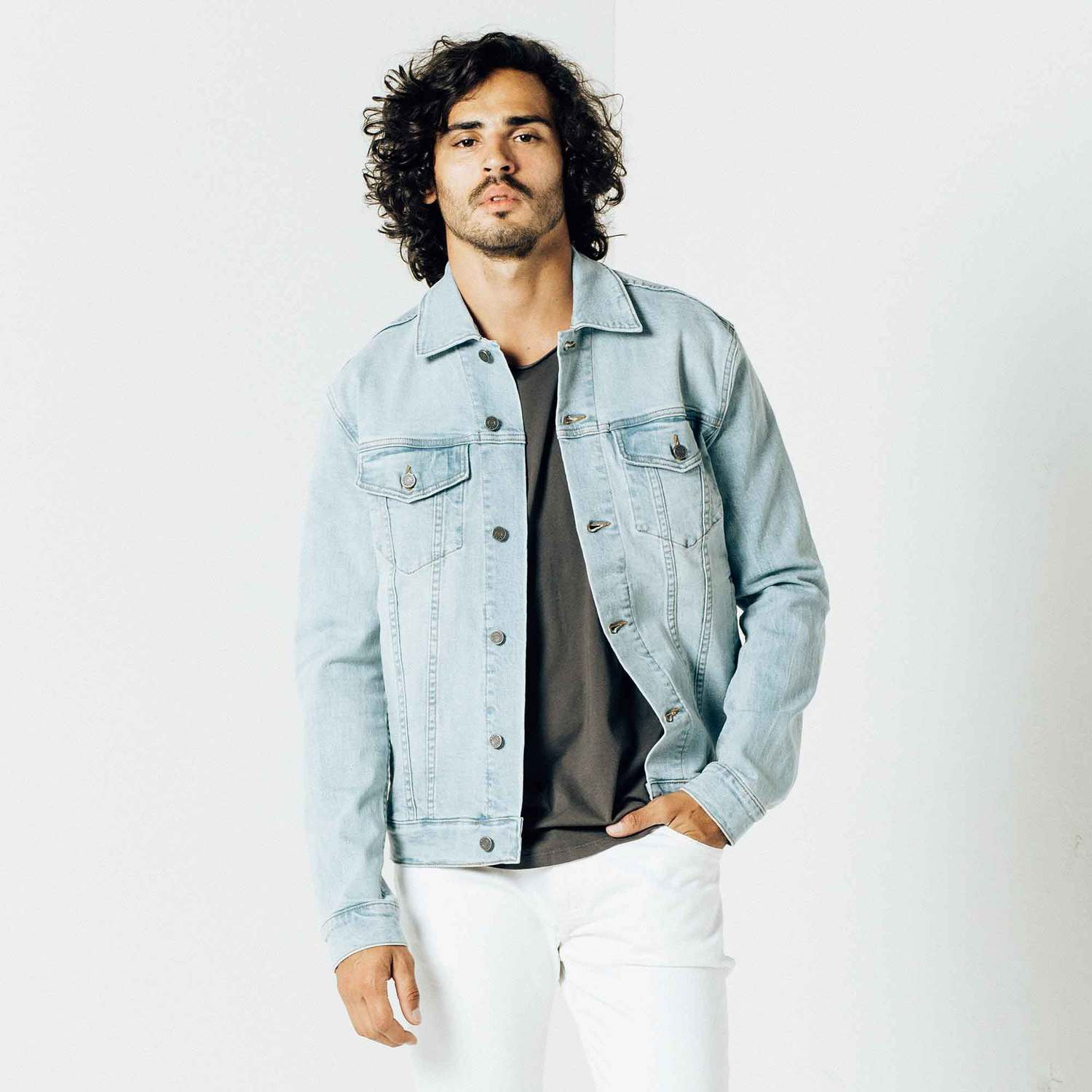 Mens Denim Jacket In Light Wash $95 | DSTLD