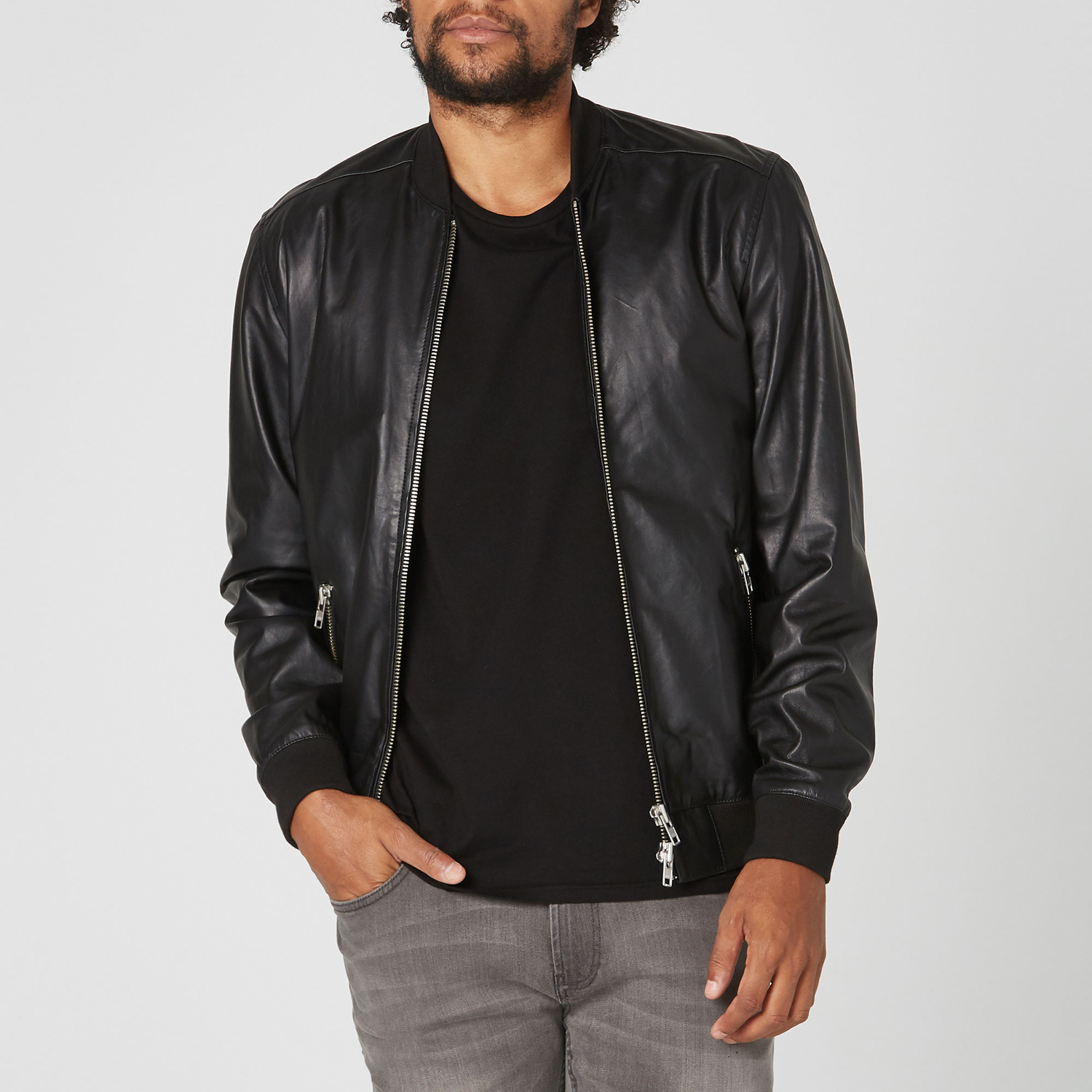 e0e7d2c6f19 Mens Leather Bomber Jacket In Black  300