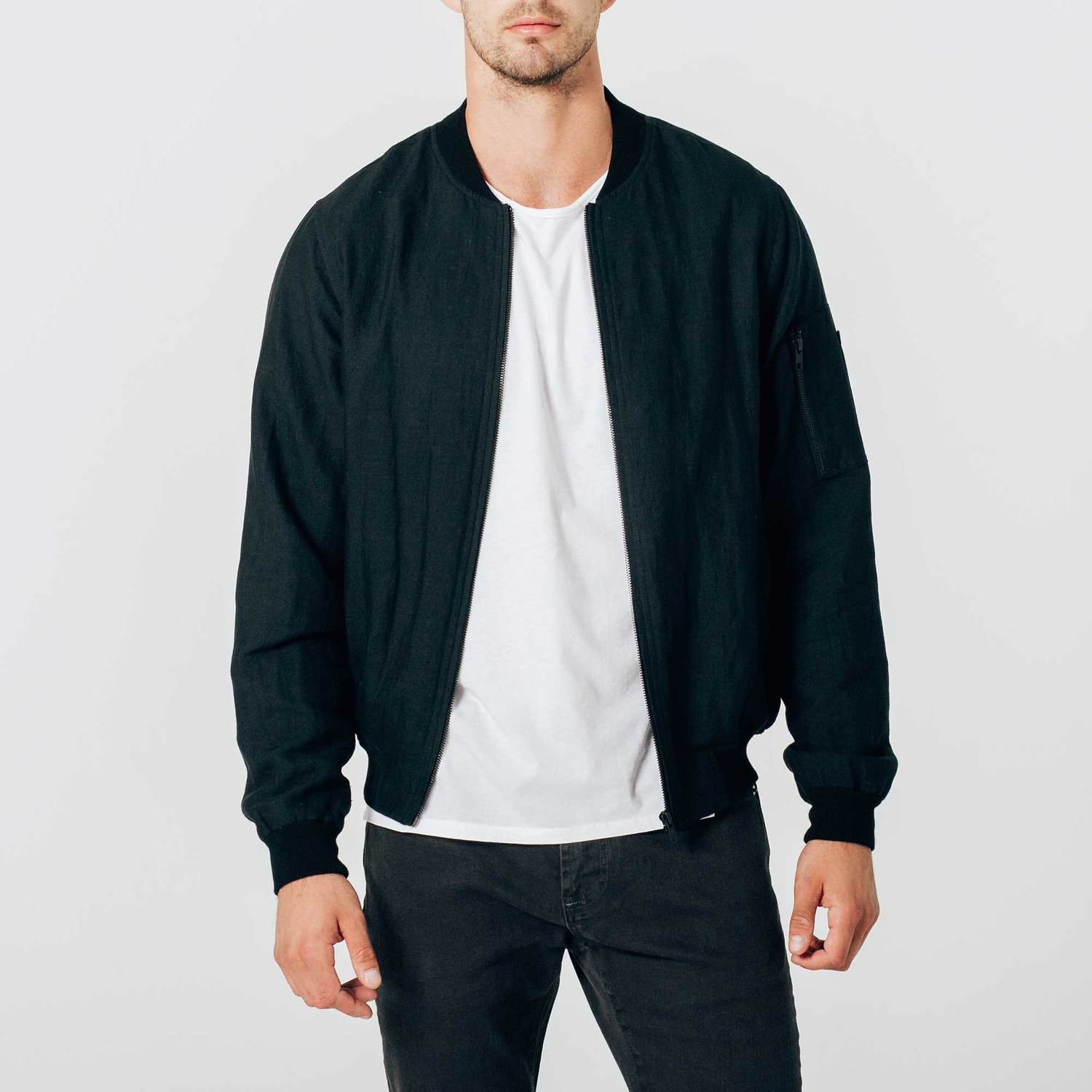 13696baf95a7 Mens Linen Bomber Jacket In Black  125