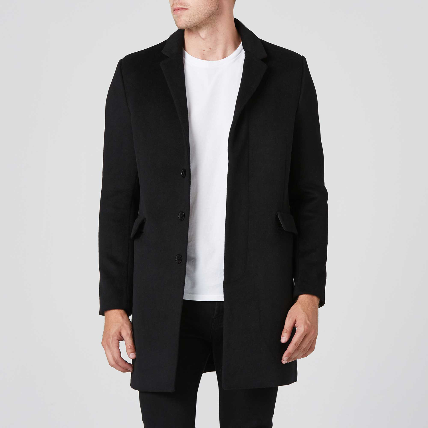 187f4fe7221 Mens Long Wool Coat In Black  250