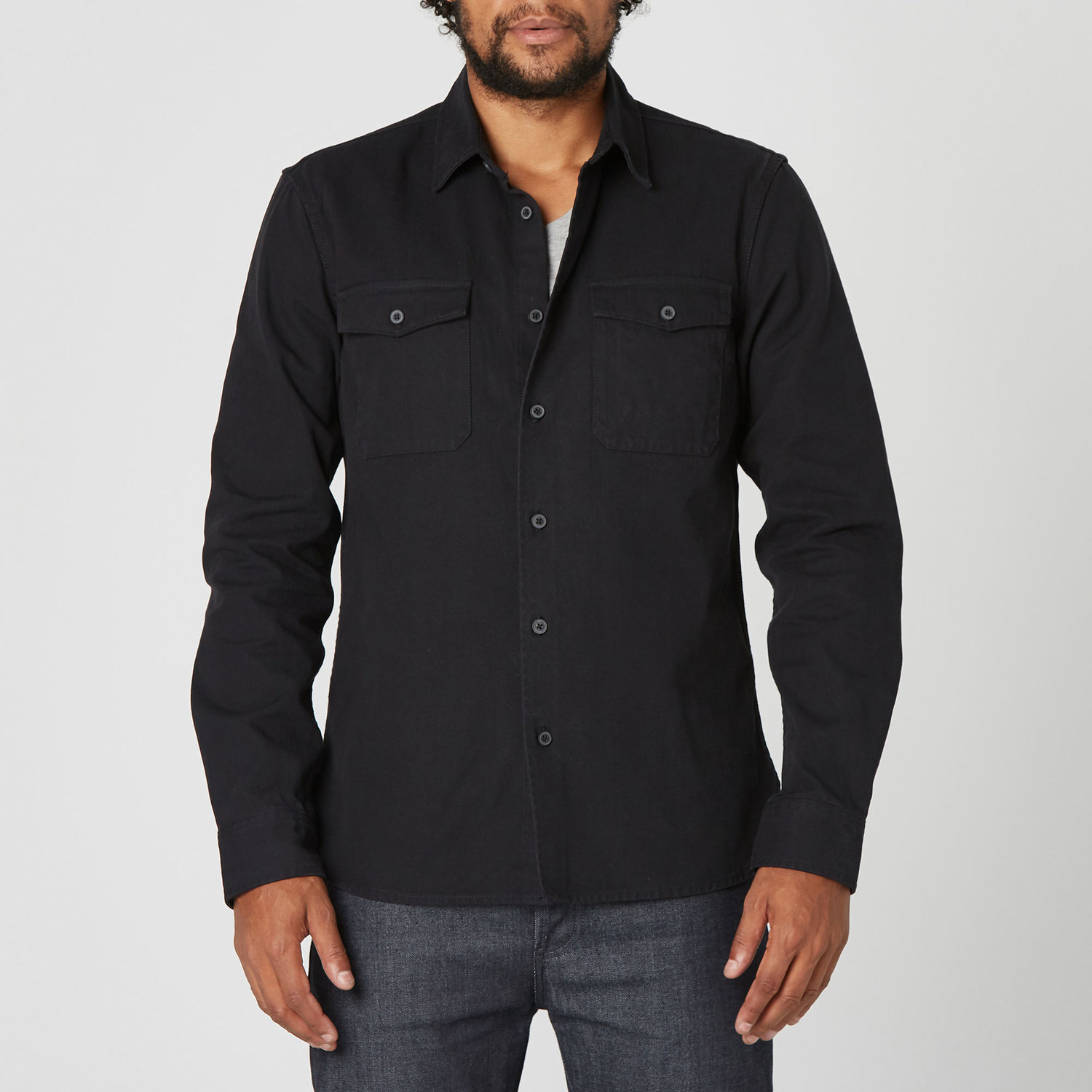 offer pretty and colorful men/man [Military Shirt] Mens Military Shirt Jacket in Black
