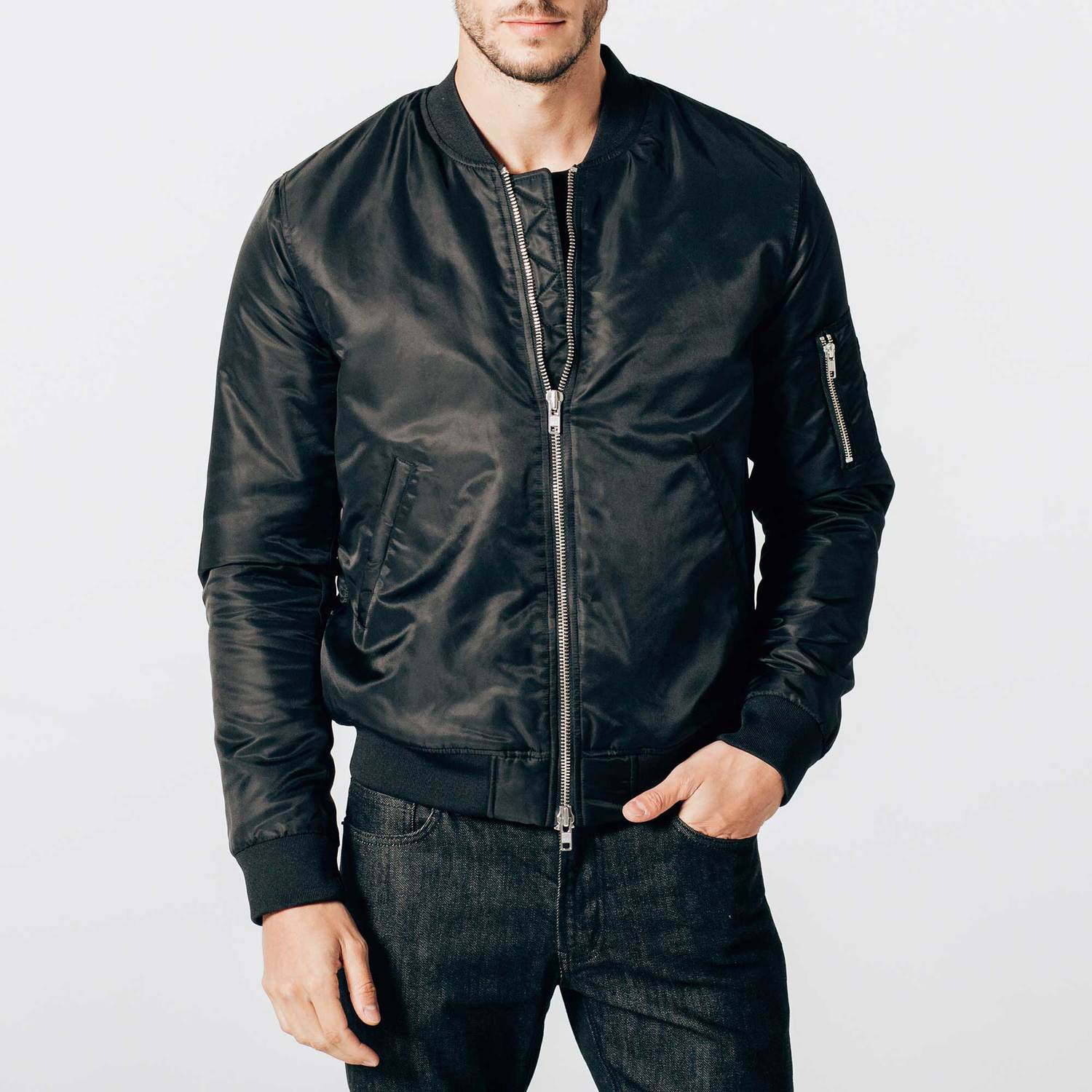 Mens Nylon Bomber Jacket With Silver Zippers In Black $33 ...