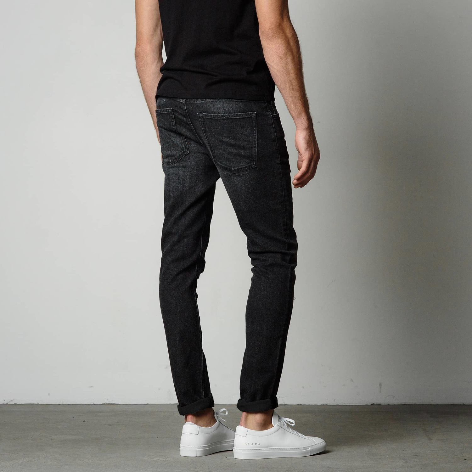 Mens Skinny Jeans In Faded Black 85 Dstld