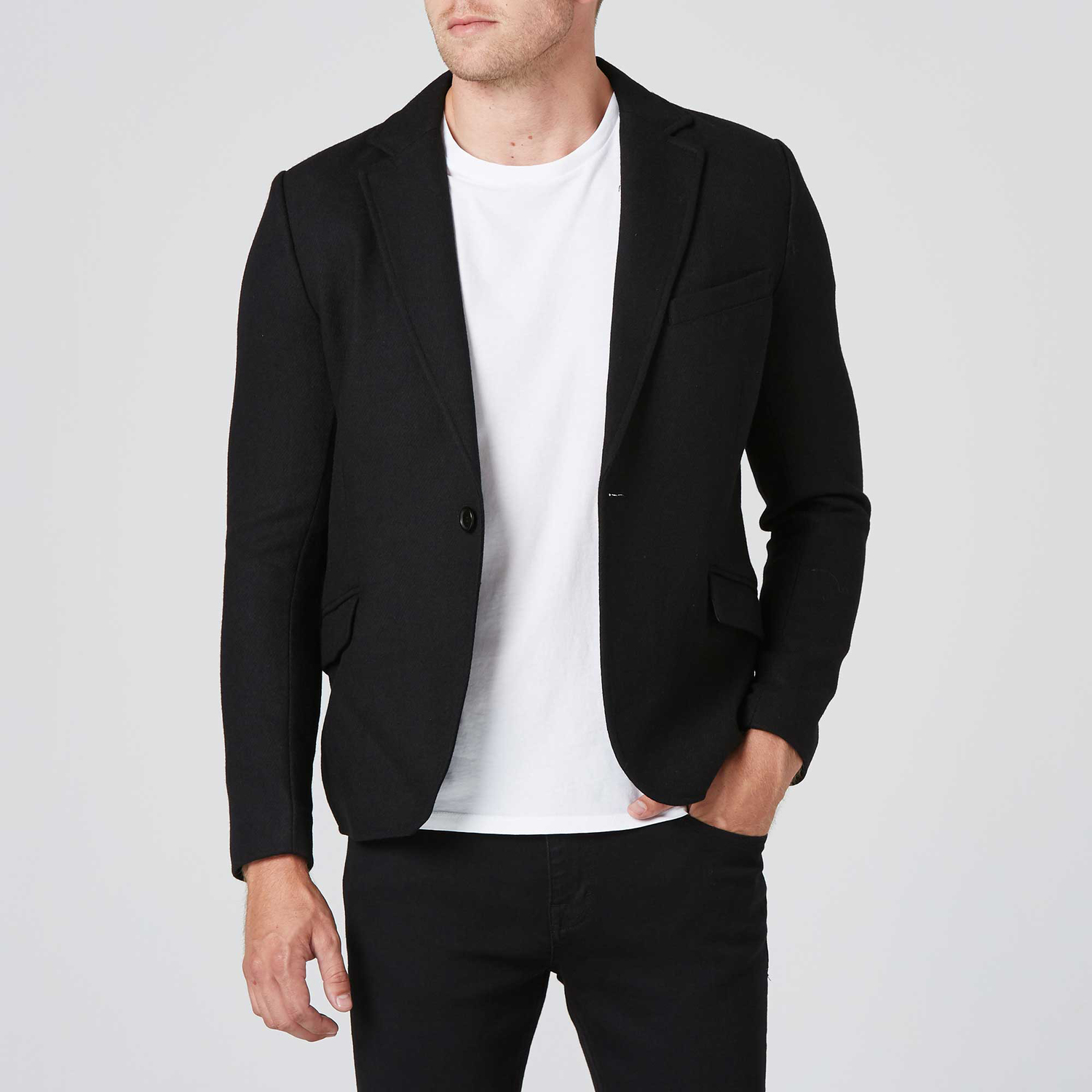 a7479662a443 Mens Slim Wool Blazer With Leather Collar In Black $125 | DSTLD