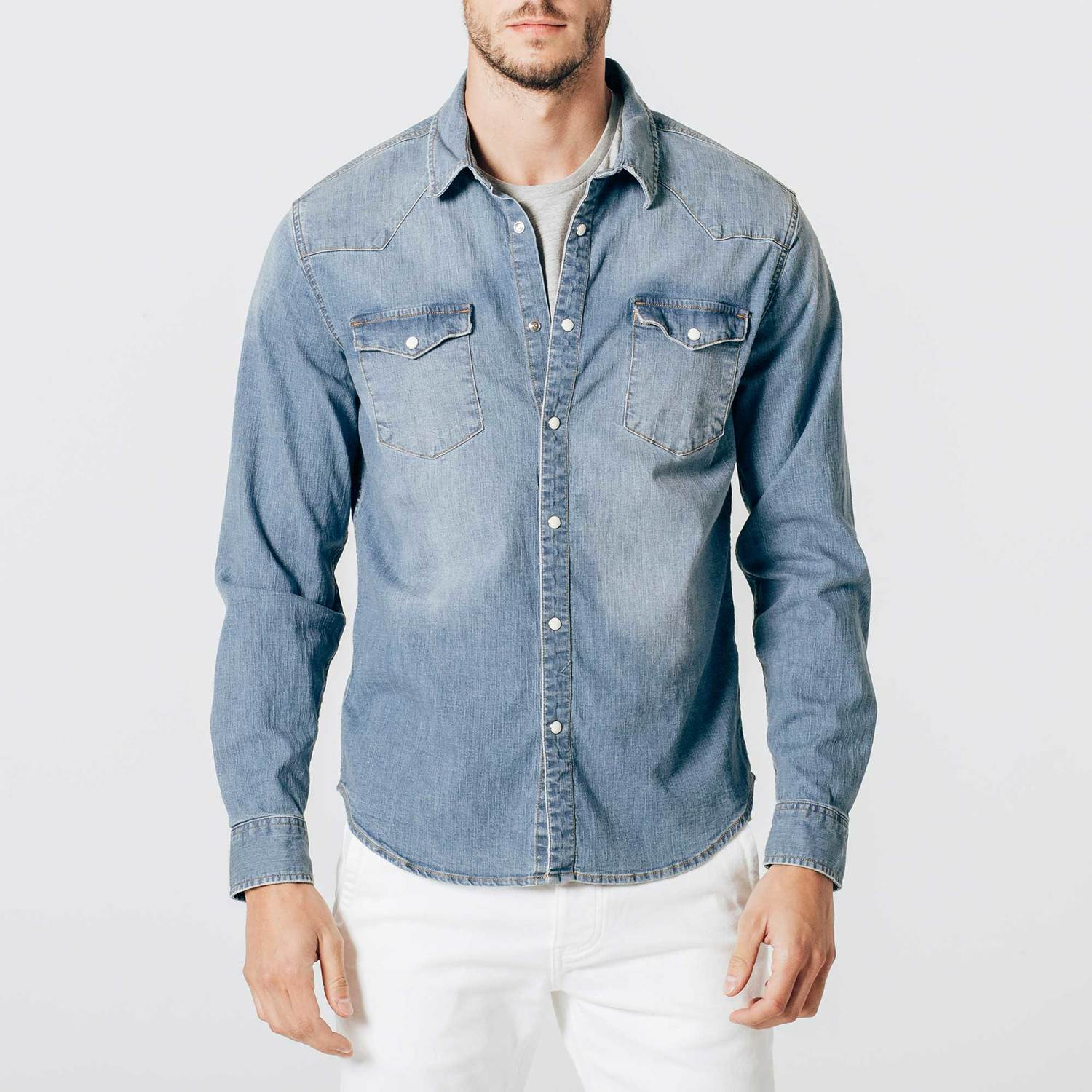 Mens Snap Button Down Denim Shirt In Light Wash by Dstld
