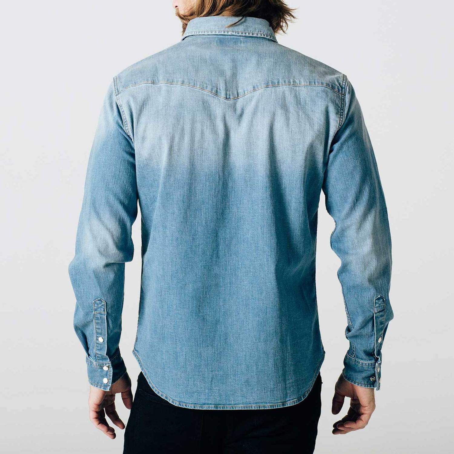 Mens Snap Button Down Denim Shirt In Light Wash $75 | DSTLD