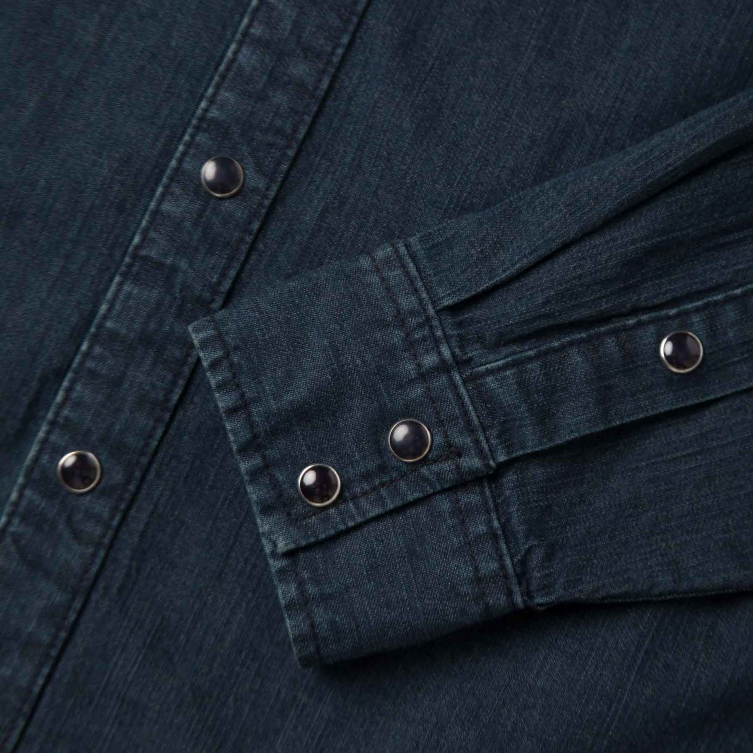 Mens snap button down denim shirt in midnight blue 75 dstld for Mens shirts with snaps instead of buttons