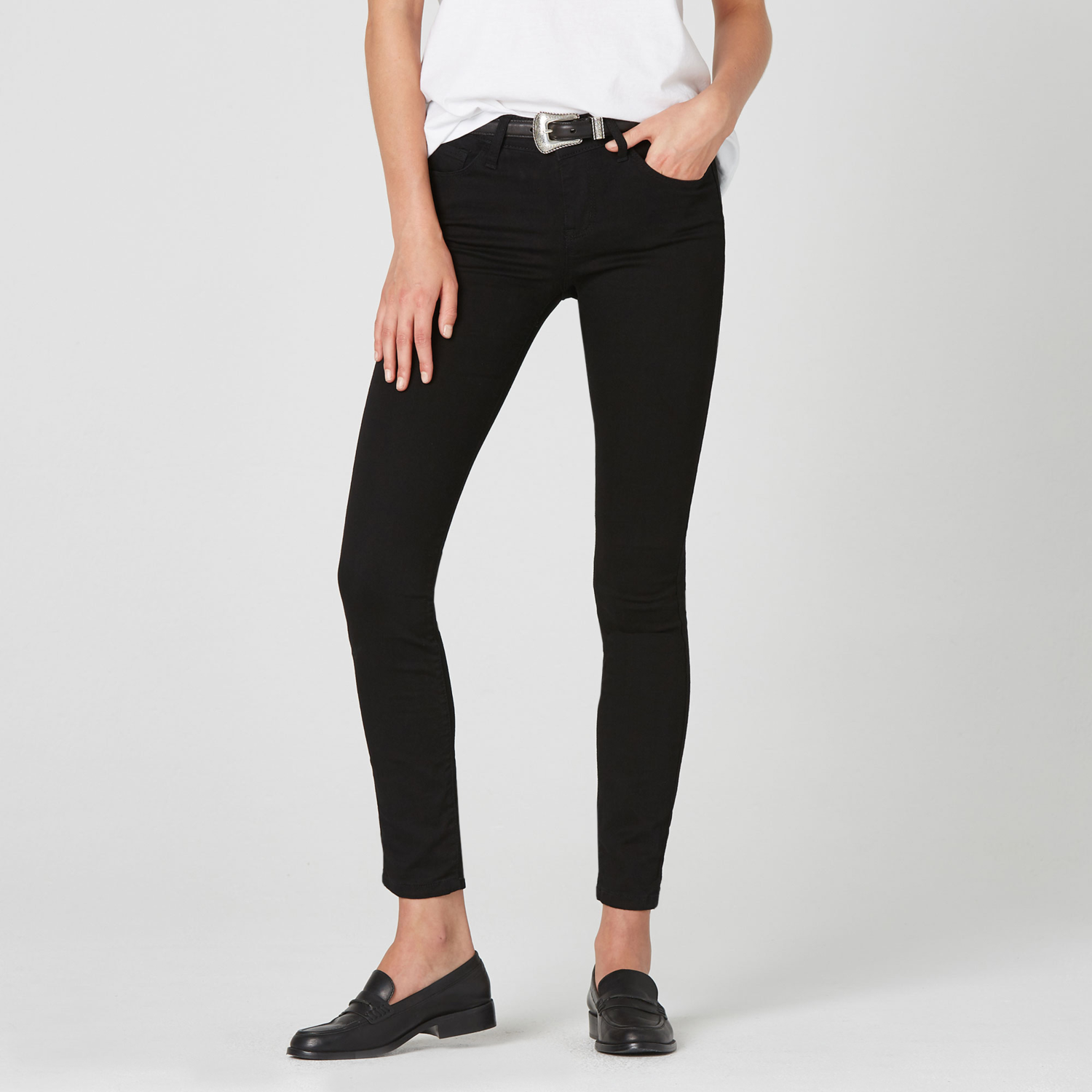 6f8936d935c Womens Mid Rise Skinny Jeans In Black Powerstretch $85 | DSTLD