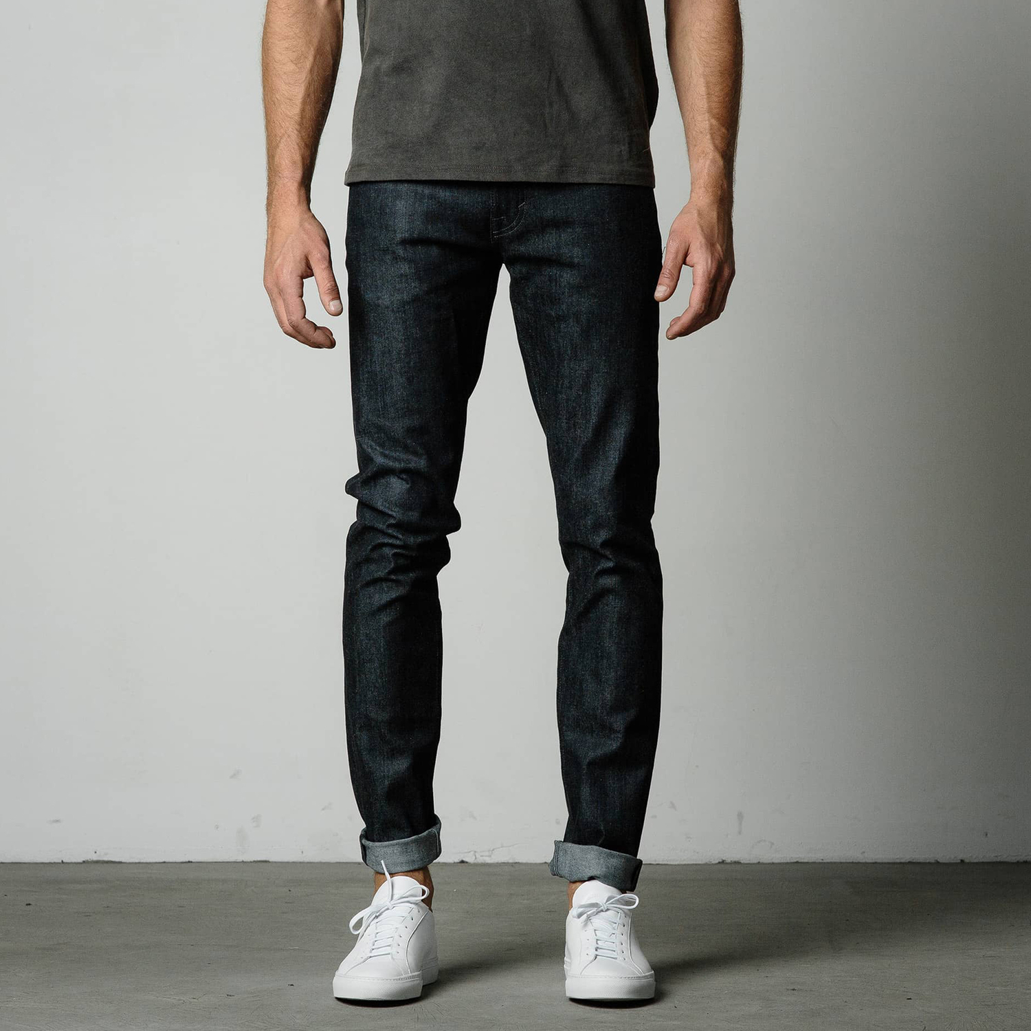 Excellent dark blue raw Gustin denim with button front closure and skinny cut. These jeans are perfect to dress up or down. 7 - Item is