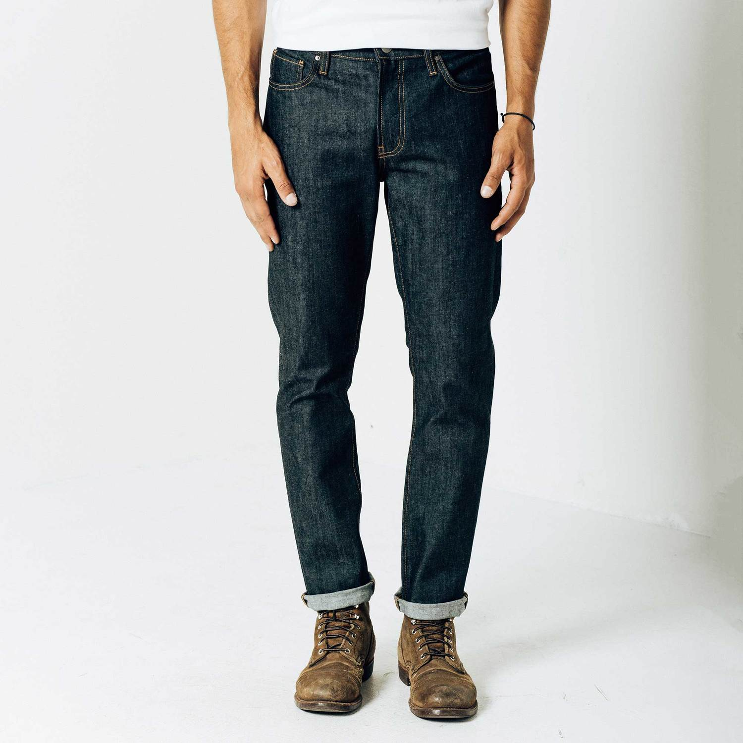 Mens Skinny Slim 12.75oz Raw Denim Jeans In 24 Dip Indigo Timber $75 | DSTLD