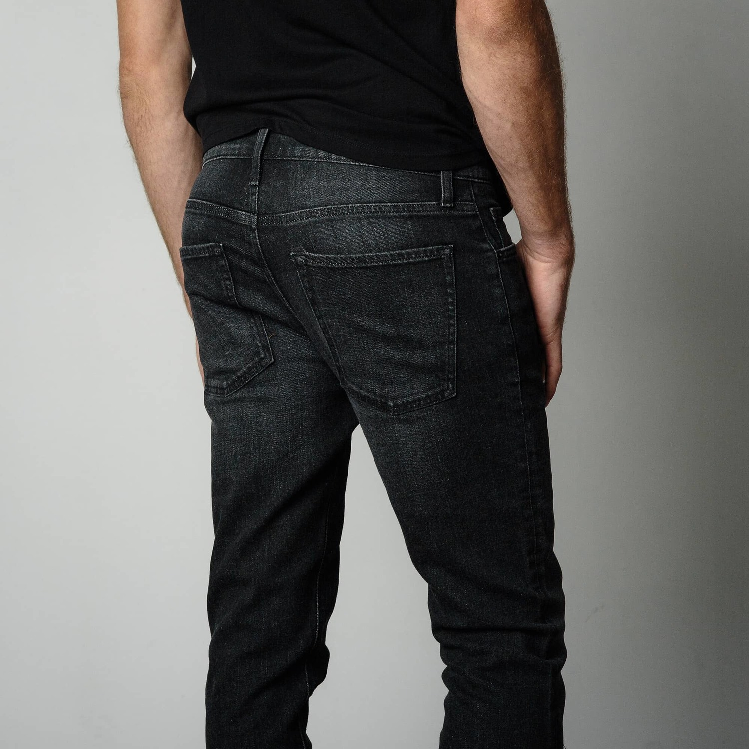 Mens Skinny Jeans In Faded Black | DSTLD Premium Denim ...