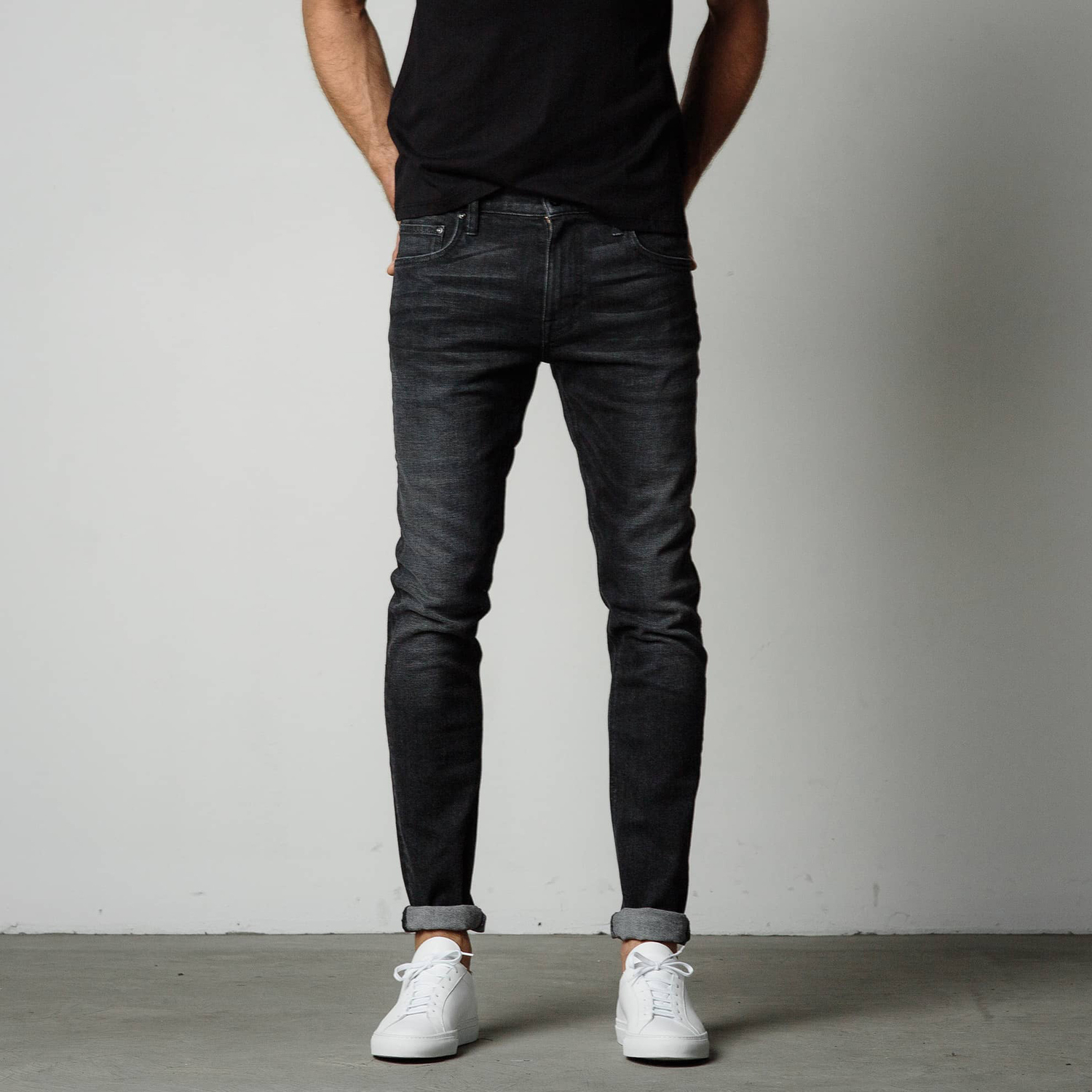 Mens Skinny Jeans In Faded Black | DSTLD