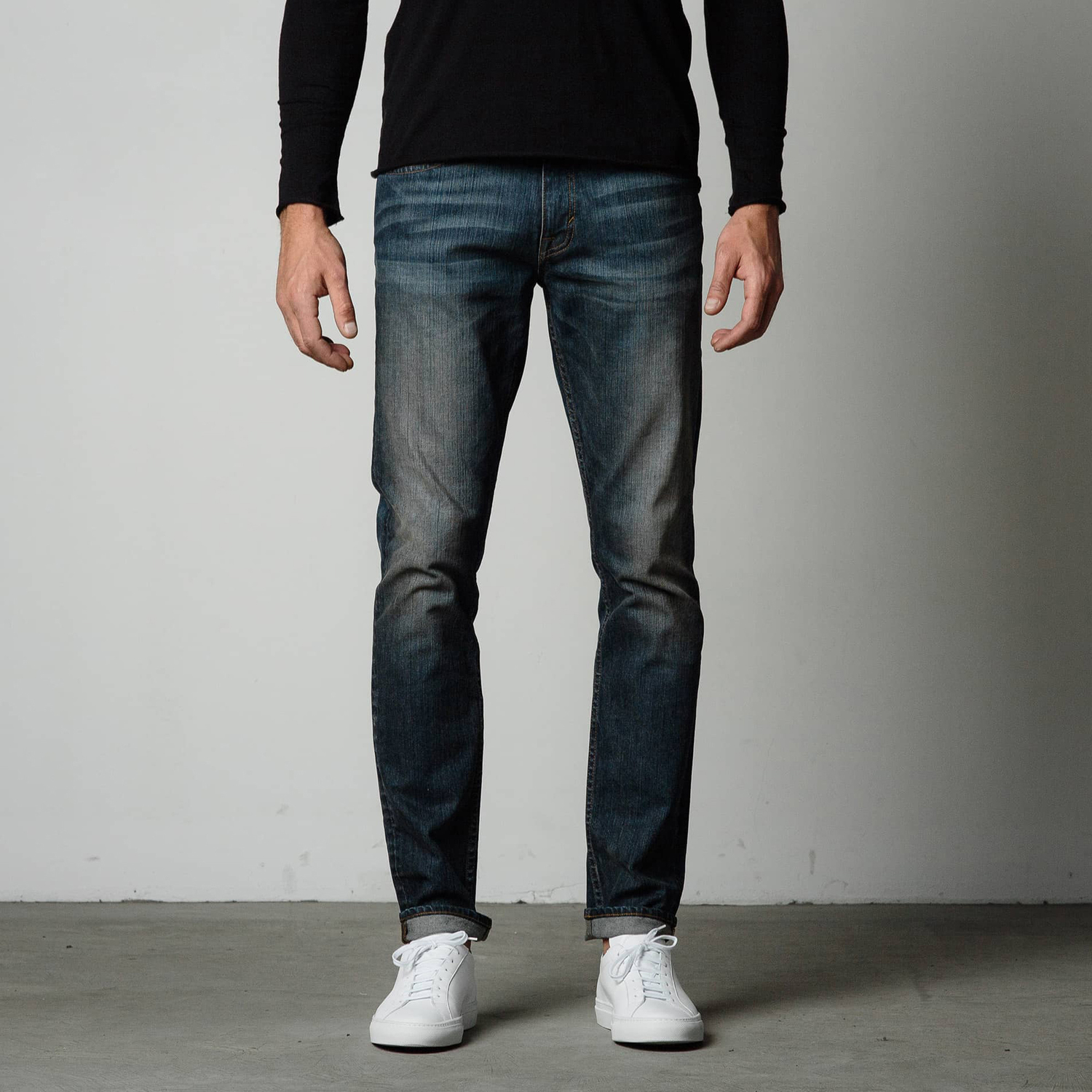 Mens Skinny Slim Jeans In Dark Worn | DSTLD