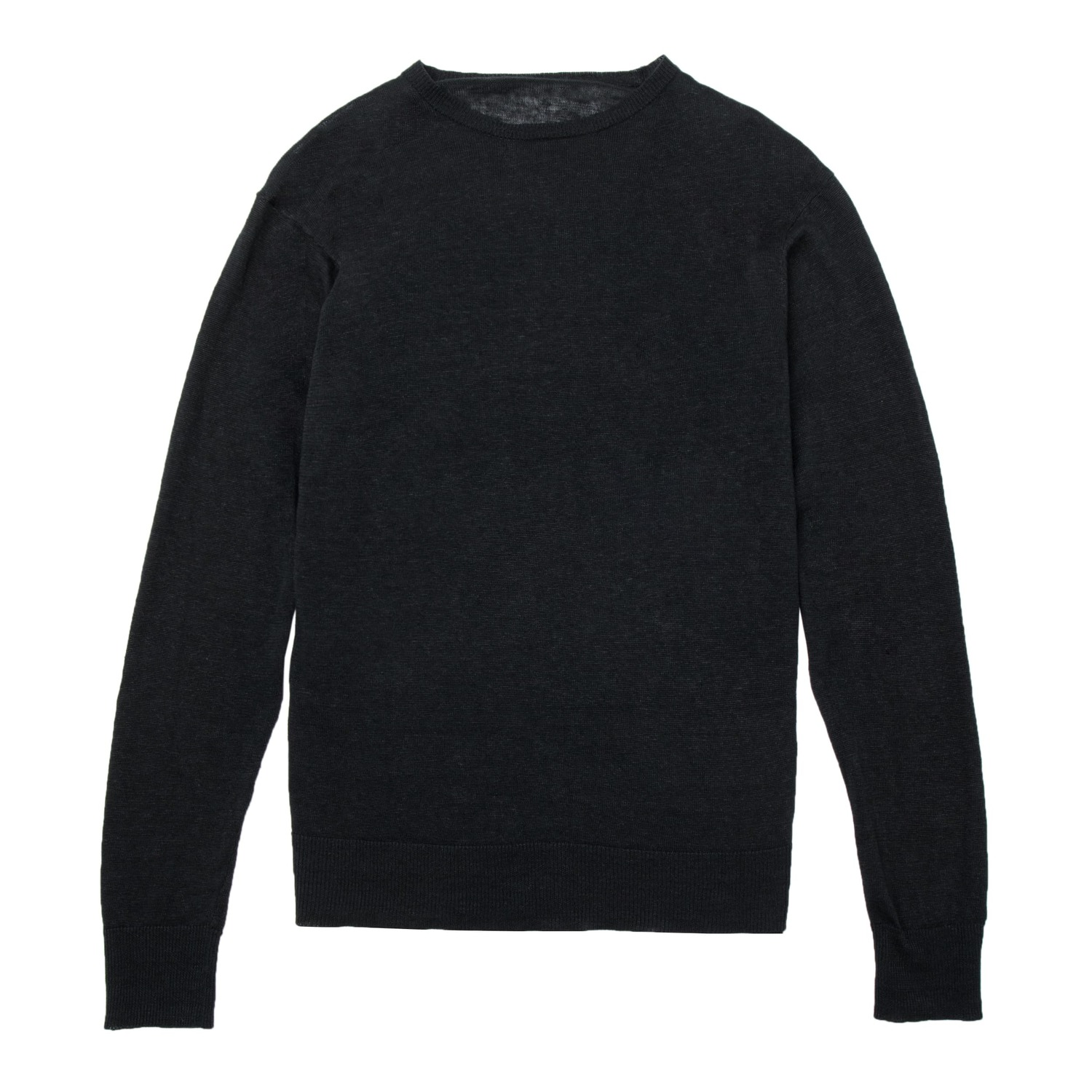 Mens Linen Crew Neck Sweater In Black $65 | DSTLD