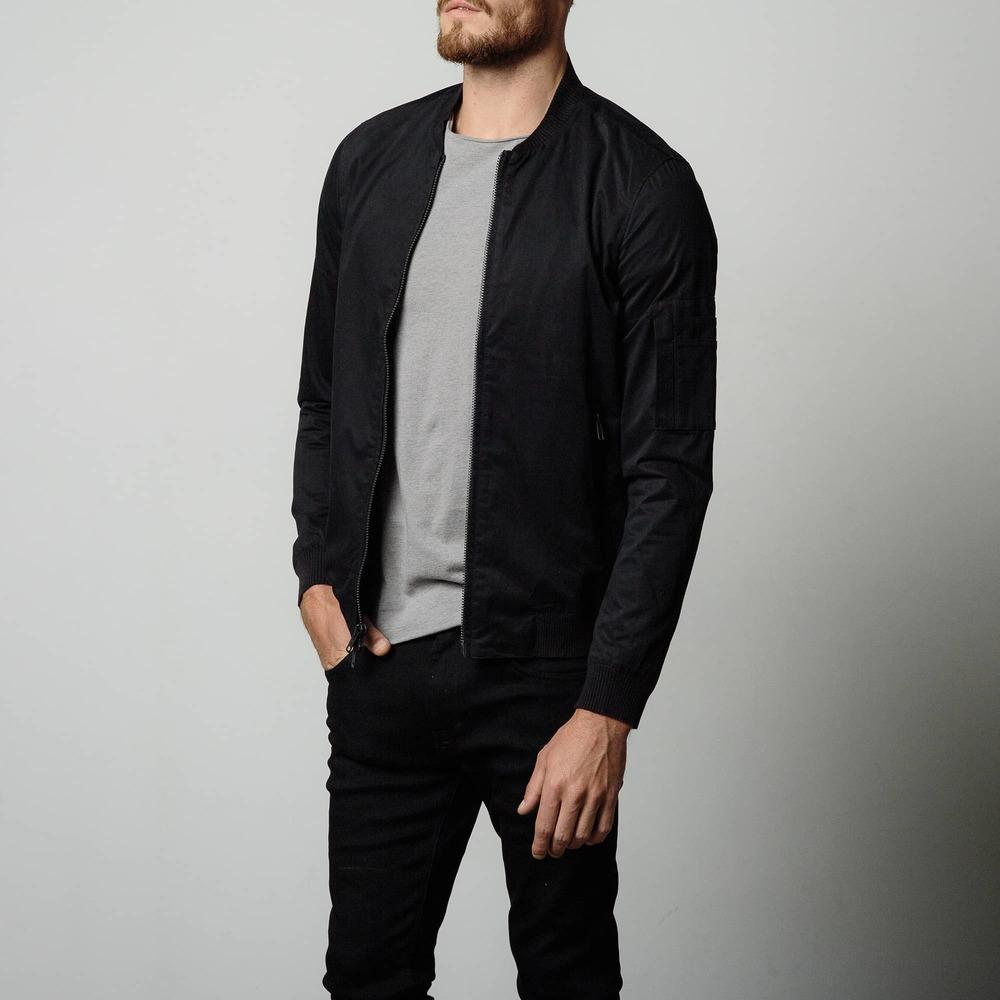 Mens Cotton Bomber Jacket In Black | DSTLD