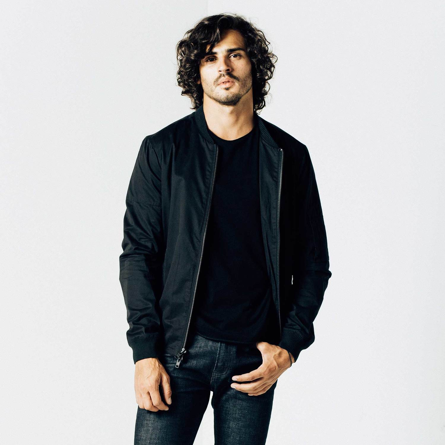 Mens Cotton Bomber Jacket In Black $125 | DSTLD