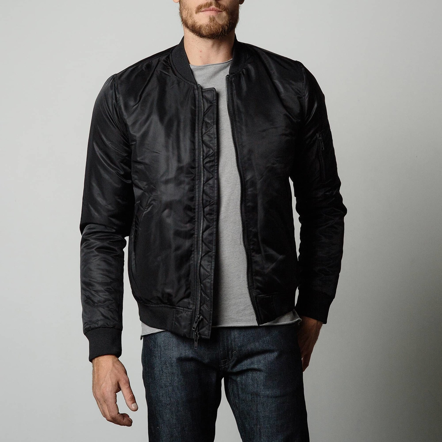 Mens Nylon Bomber Jacket With Black Zippers In Black | DSTLD