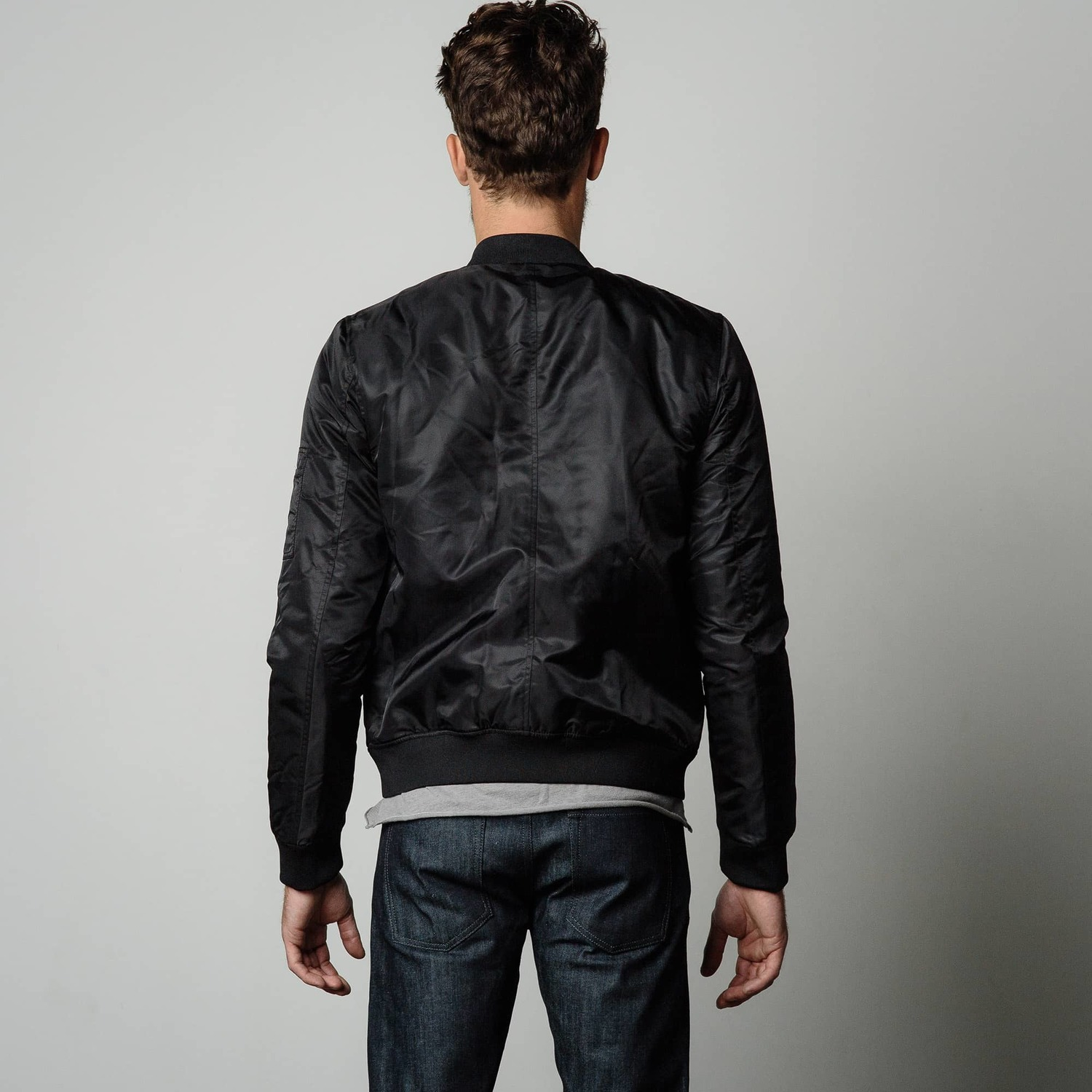 Mens Nylon Bomber Jacket With Black Zippers In Black Dstld