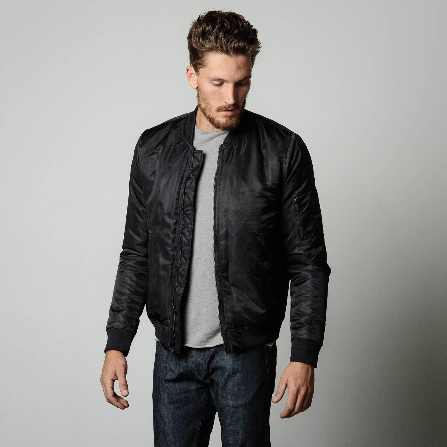Mens Nylon Bomber Jacket With Black Zippers In Black $125 ...