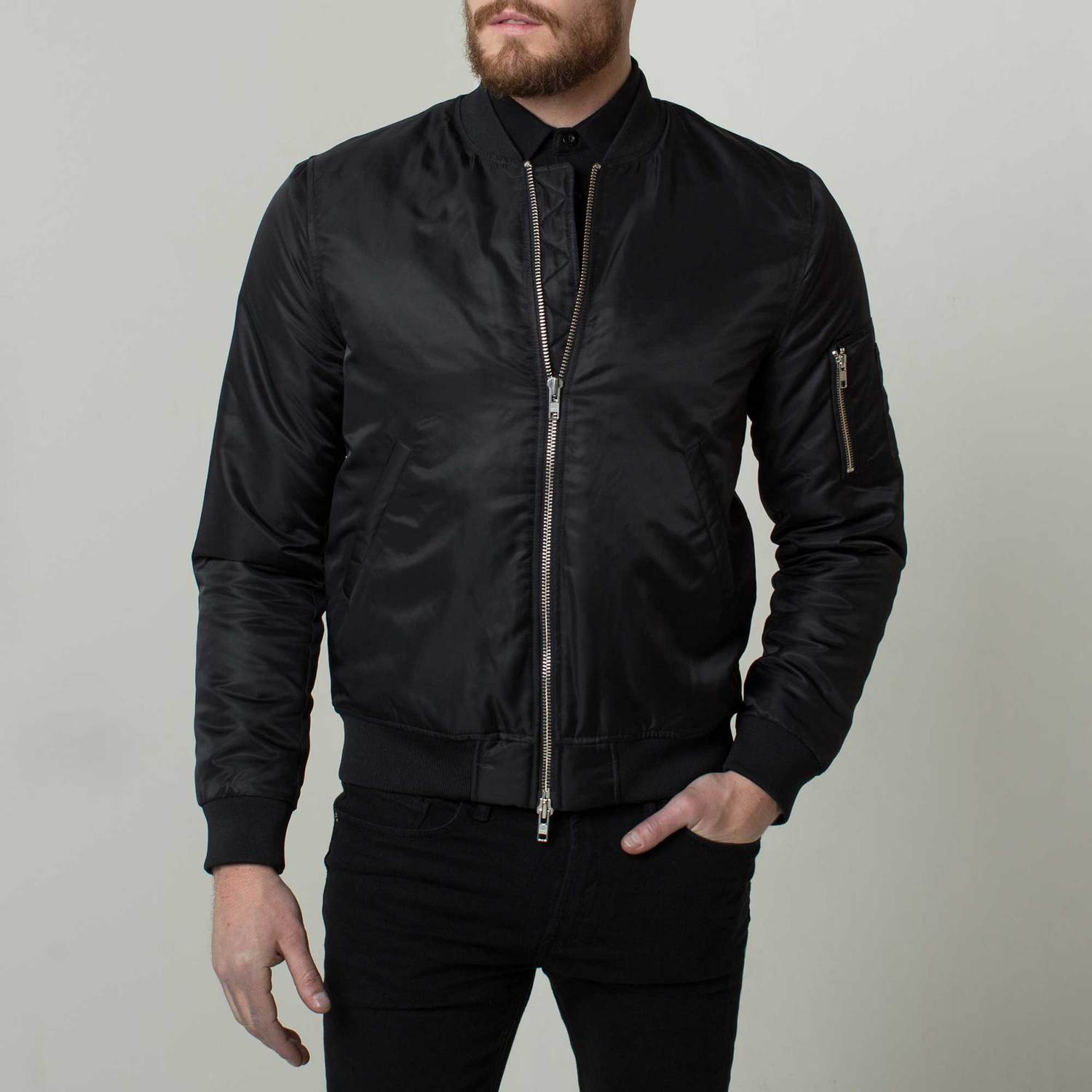 Mens Nylon Bomber Jacket With Silver Zippers In Black 145