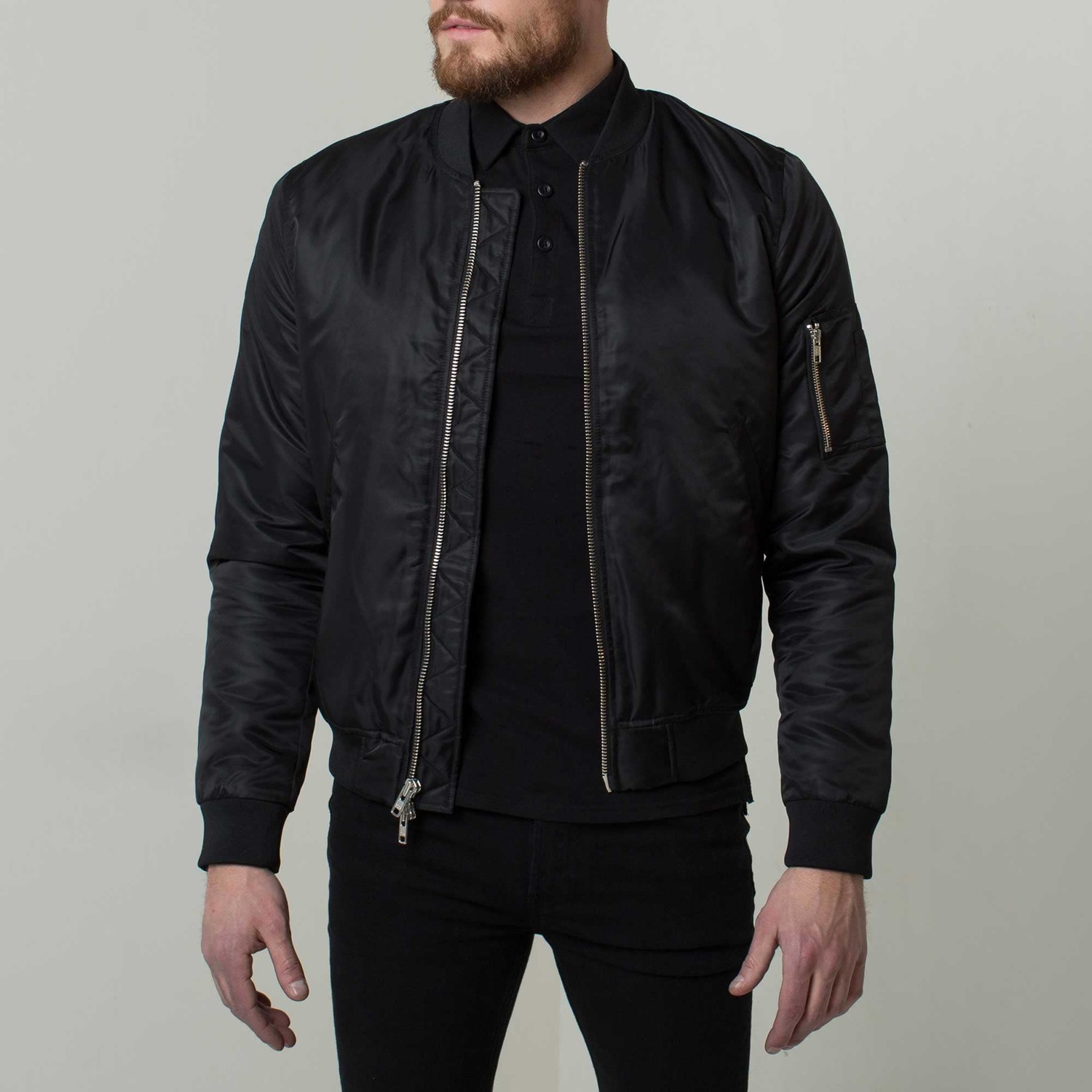 Mens Nylon Bomber Jacket With Silver Zippers In Black $135 | DSTLD