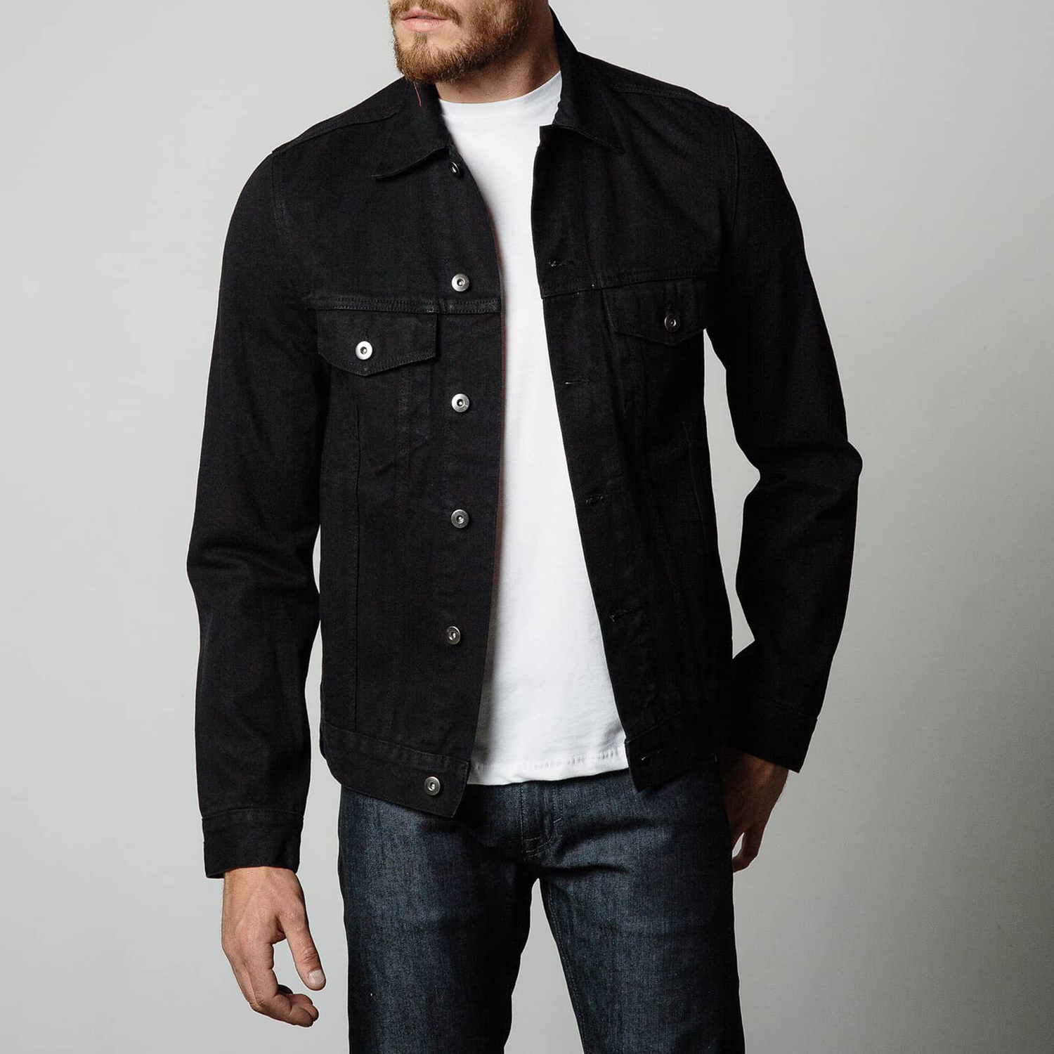 Mens Denim Jacket In Jet Black | DSTLD