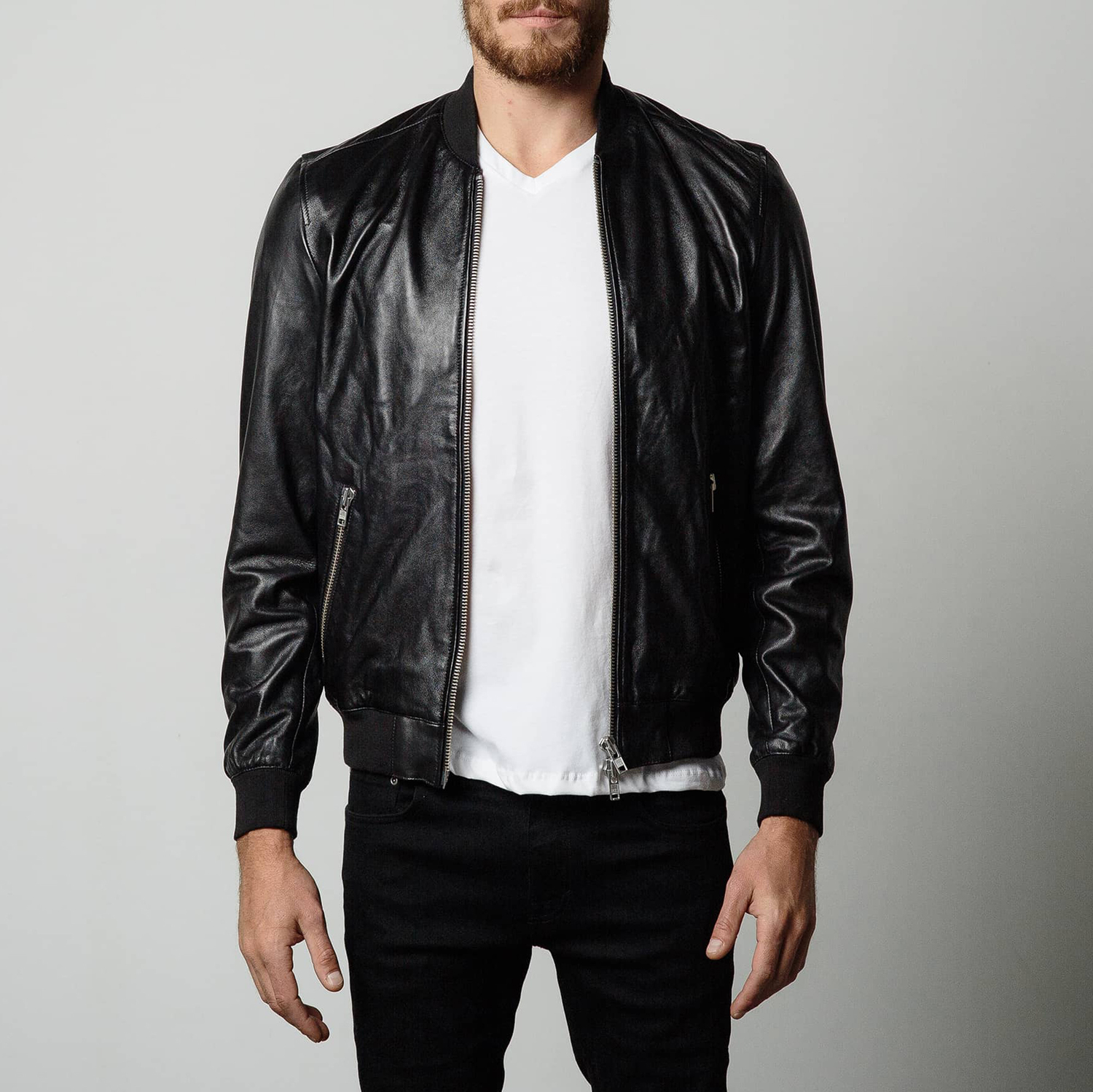 Mens Leather Bomber Jacket In Black | DSTLD